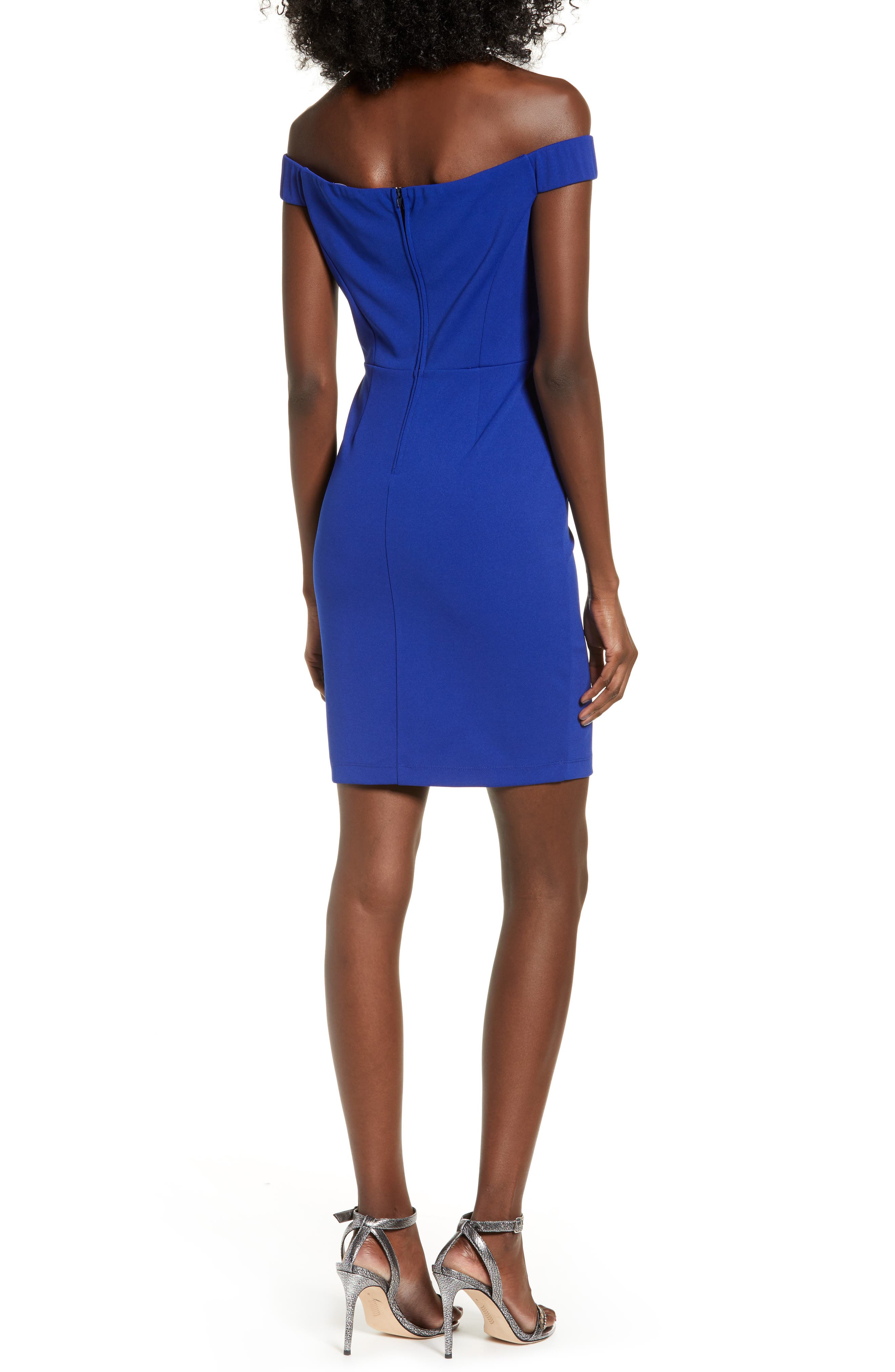 LOVE, NICKIE LEW, Off the Shoulder Body-Con Dress, Alternate thumbnail 2, color, 400