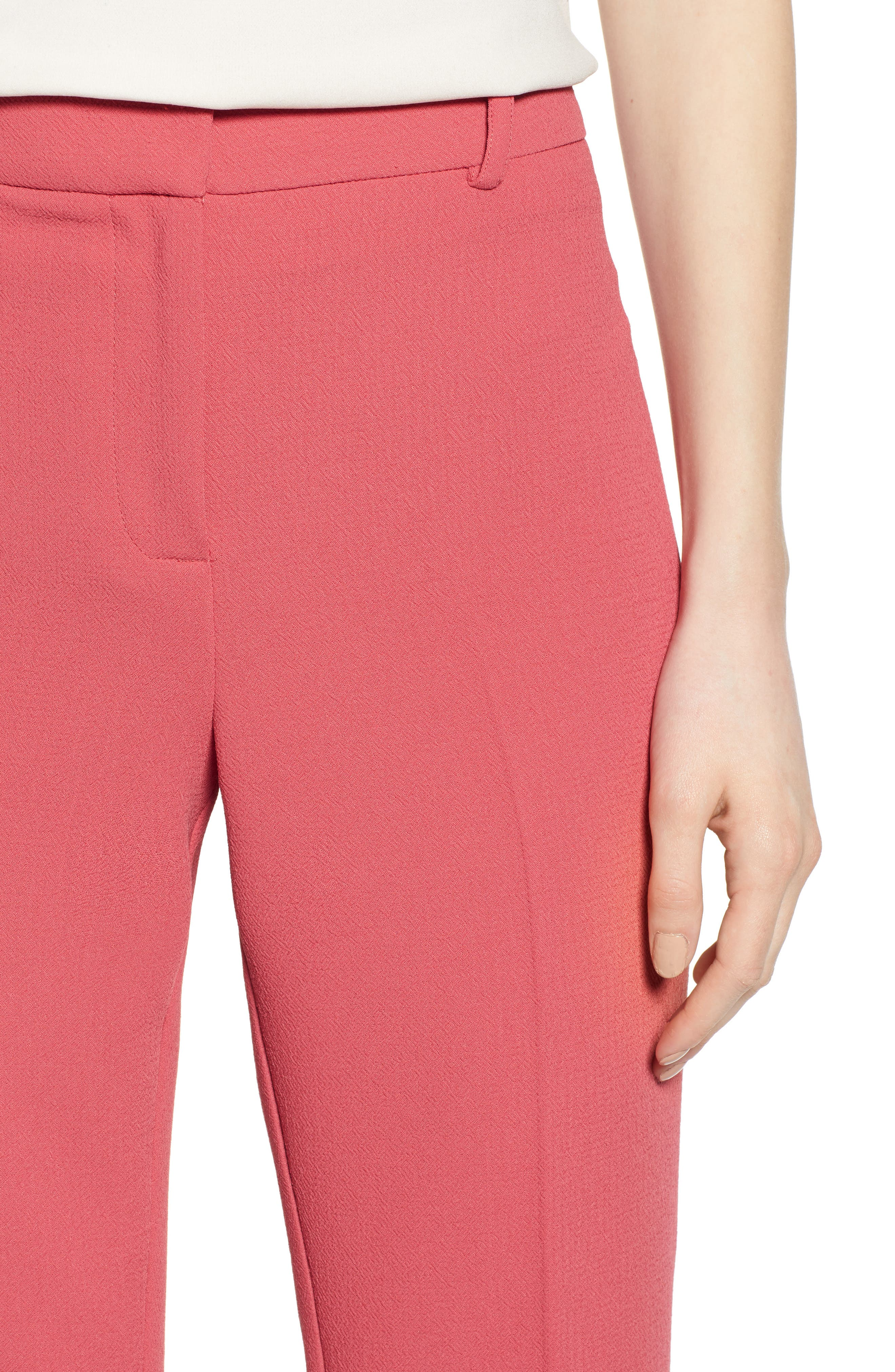 1.STATE, Crepe Kick Flare Ankle Pants, Alternate thumbnail 5, color, CORAL POPPY