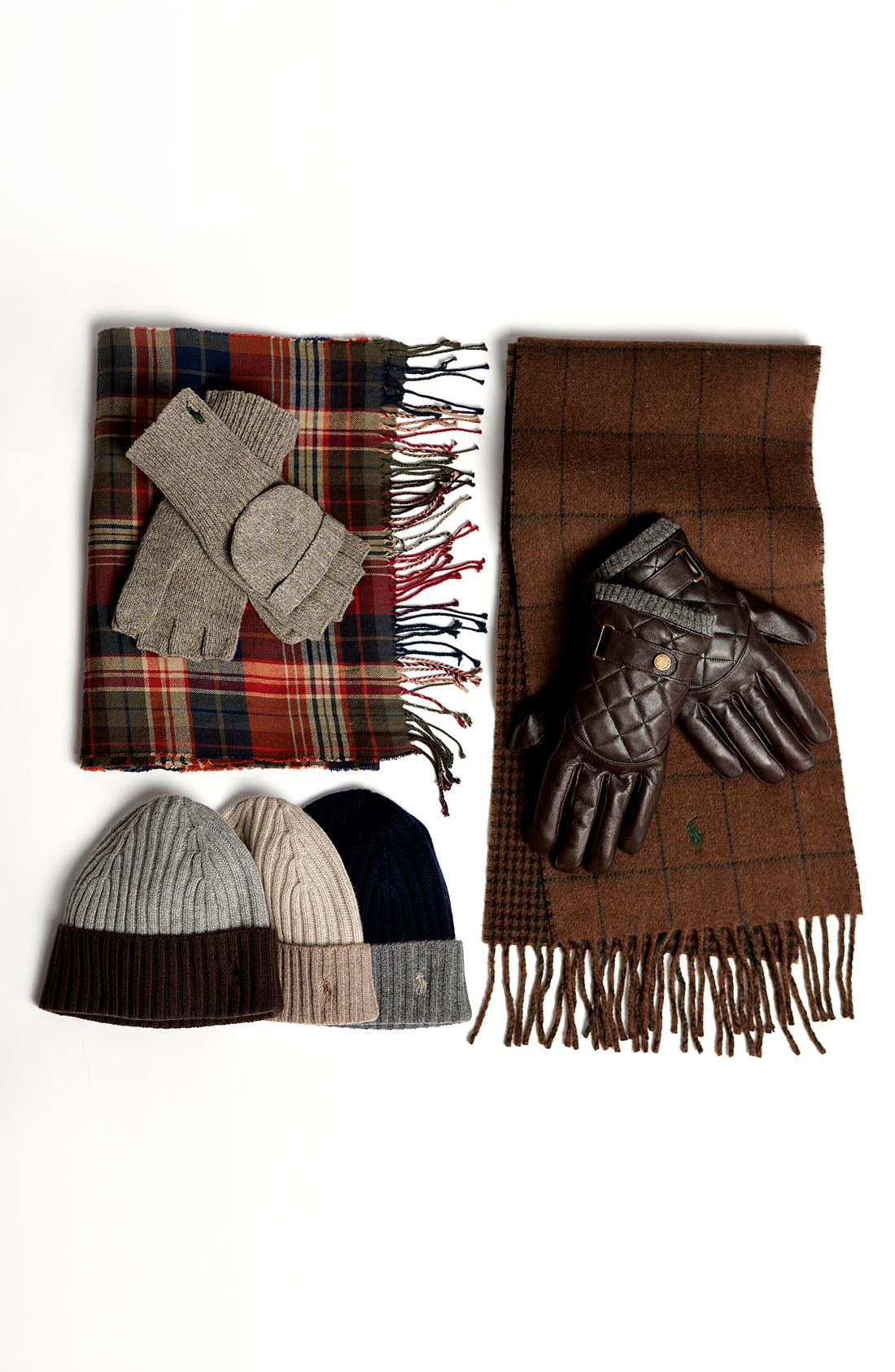 POLO RALPH LAUREN, Quilted Gloves, Alternate thumbnail 4, color, 001
