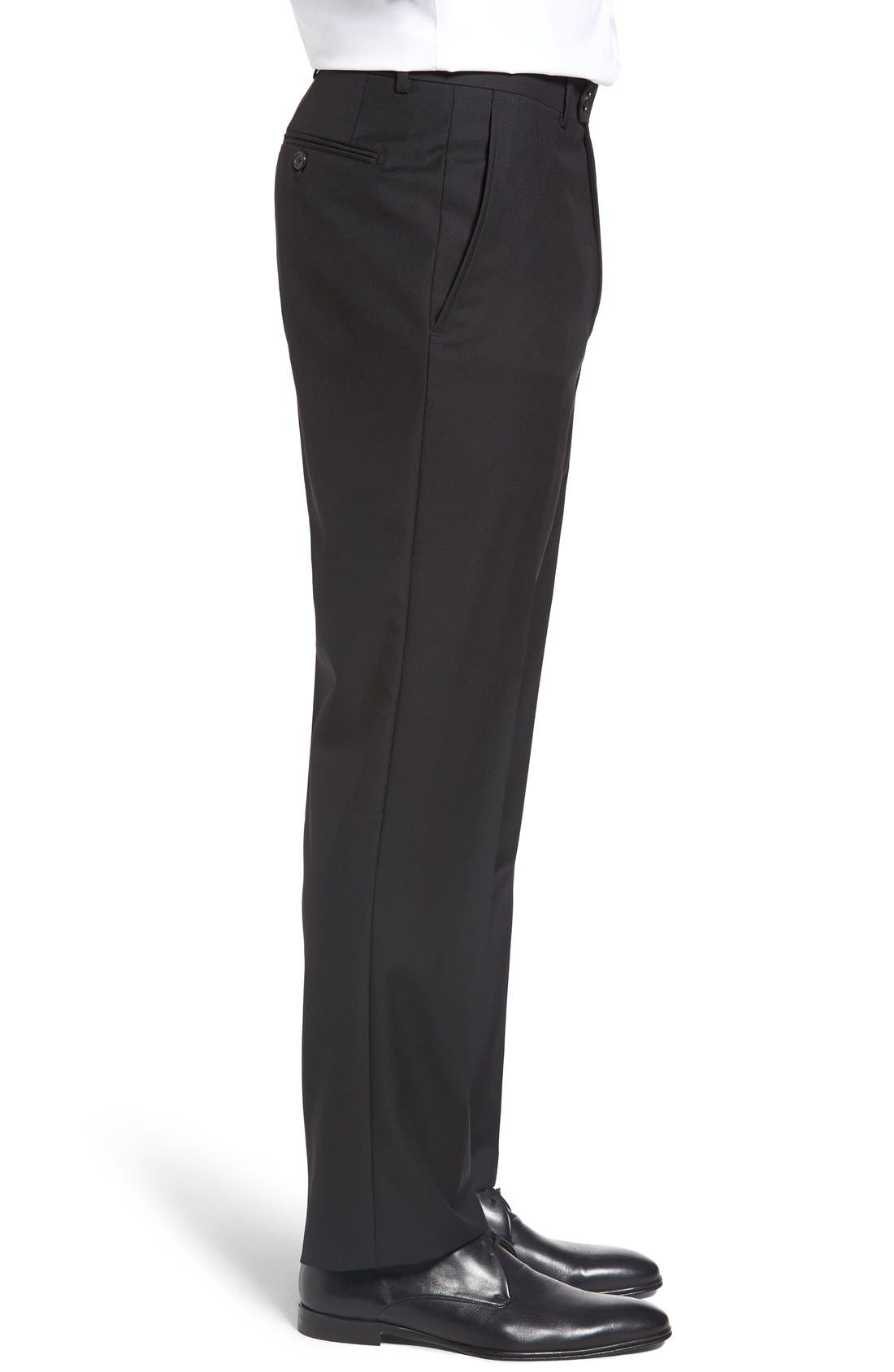 SANTORELLI, Flat Front Twill Wool Trousers, Alternate thumbnail 4, color, BLACK
