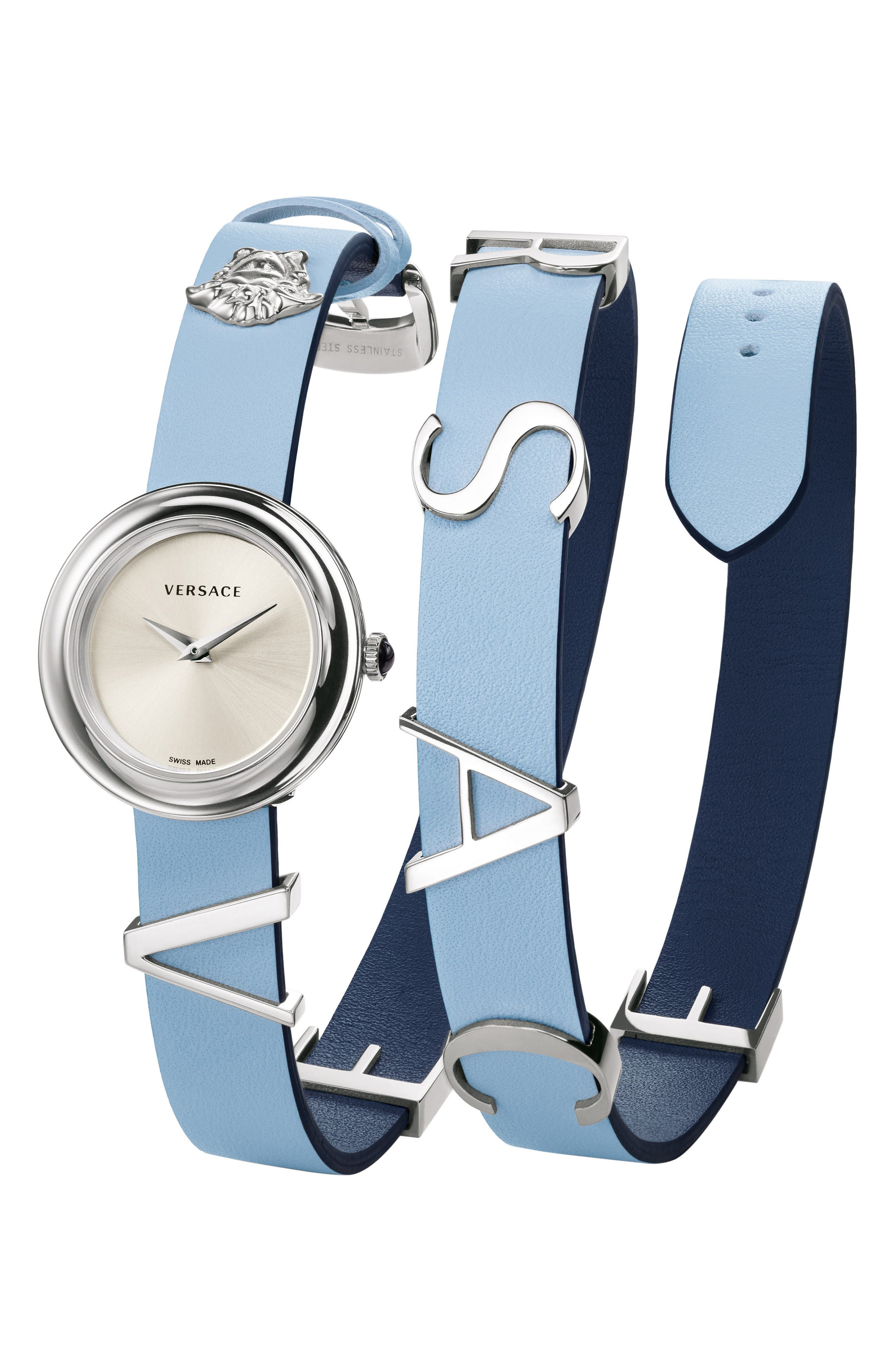 VERSACE V-Flare Double Wrap Leather Strap Watch, 28mm, Main, color, BLUE/ SILVER/ GOLD