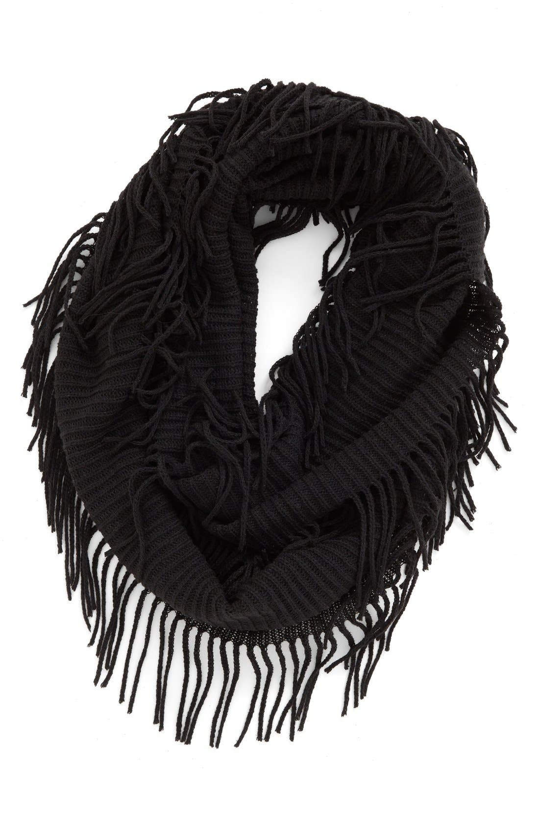 BP., Rib Knit Fringe Infinity Scarf, Main thumbnail 1, color, 001