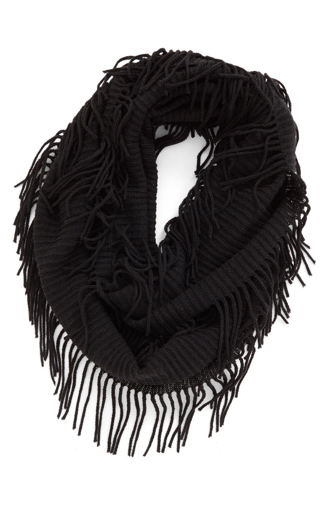 BP. Rib Knit Fringe Infinity Scarf, Main, color, 001