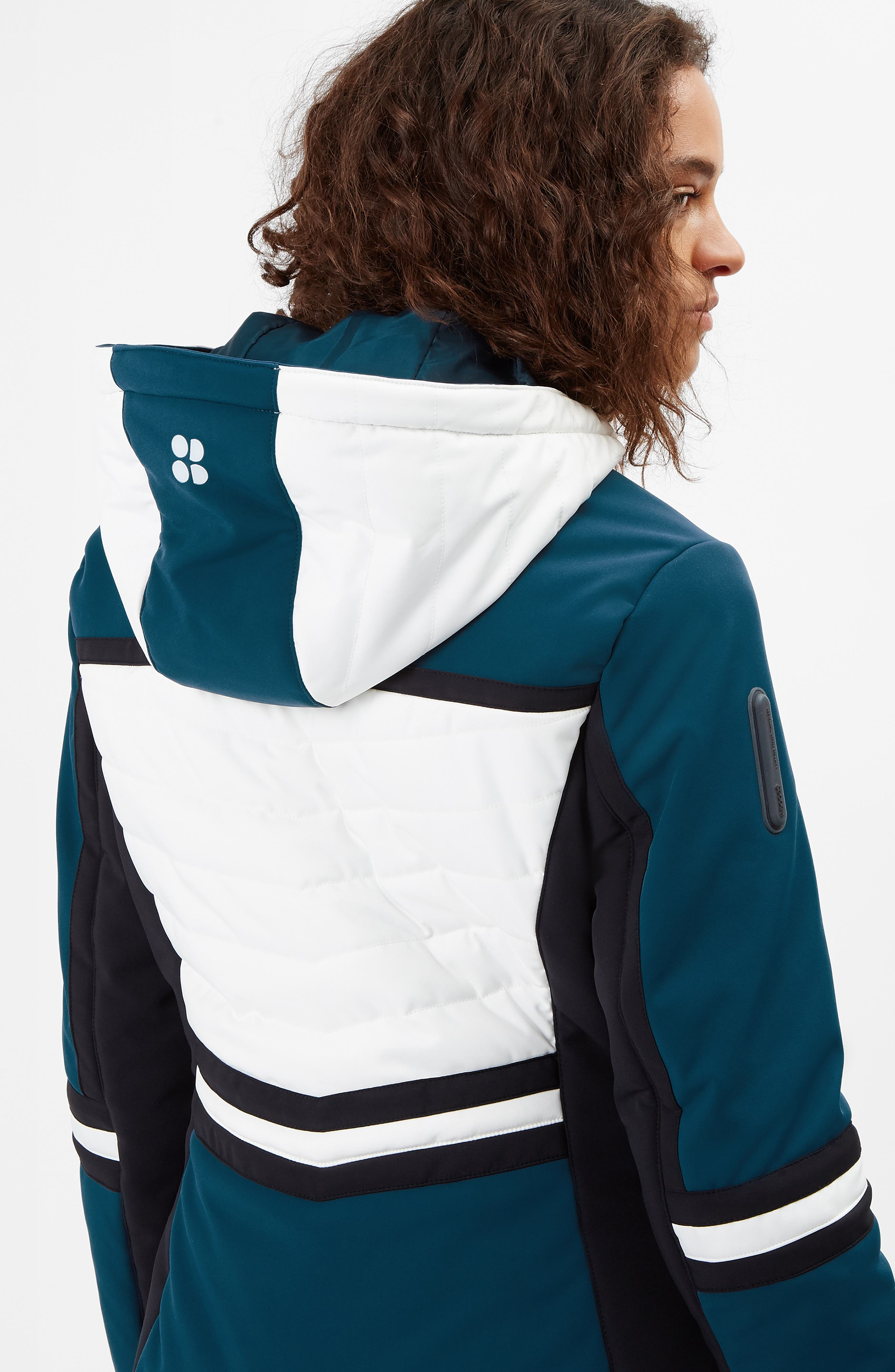 SWEATY BETTY, Method Hybrid Waterproof Ski Jacket with Faux Fur, Alternate thumbnail 10, color, BEETLE BLUE COLOUR BLOCK