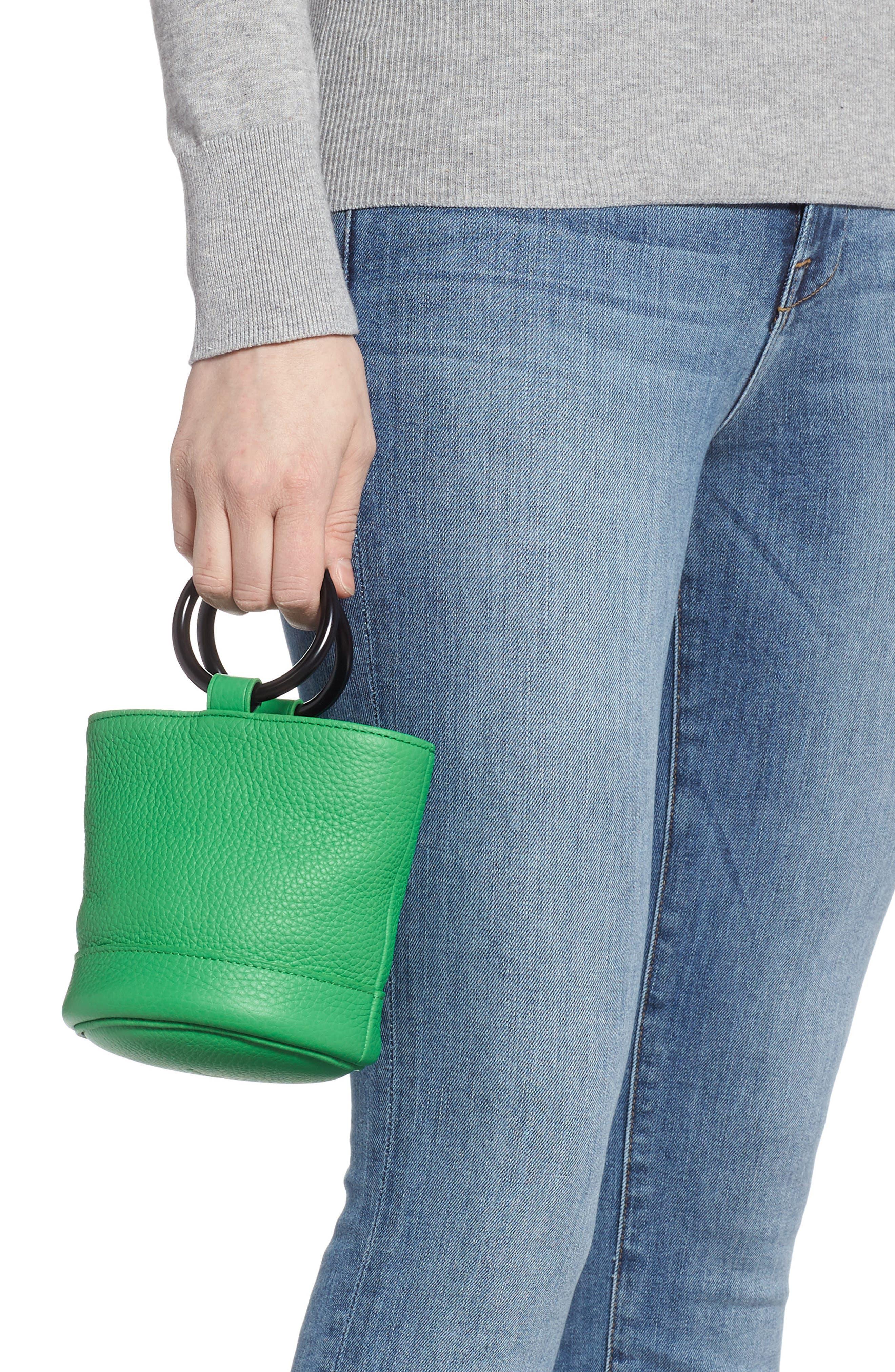 SIMON MILLER, Bonsai 15 Calfskin Leather Bucket Bag, Alternate thumbnail 2, color, NEON GREEN