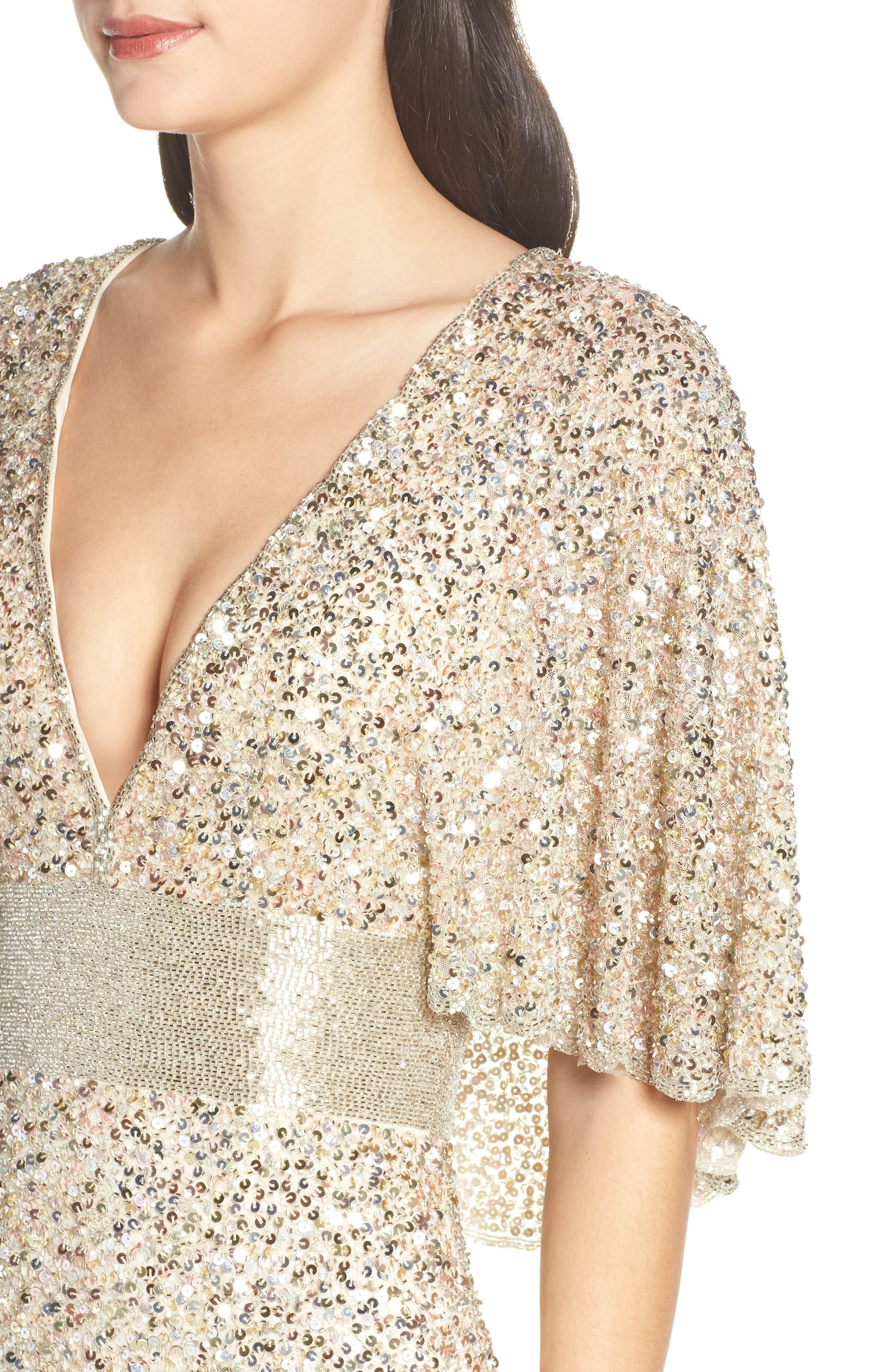 MAC DUGGAL, Beaded Capelet Sleeve Evening Dress, Alternate thumbnail 5, color, NUDE/ GOLD