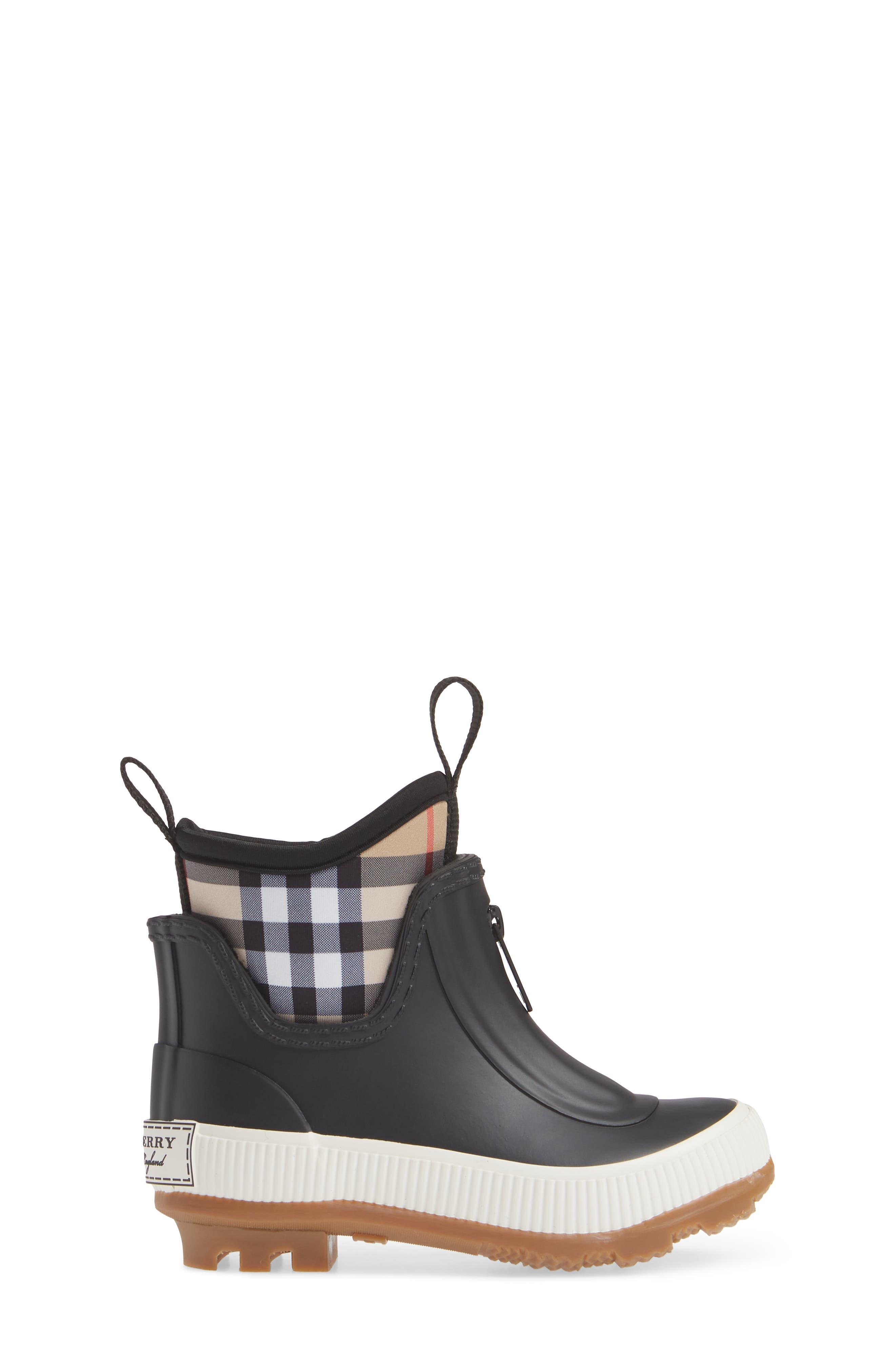 BURBERRY, Flinton Waterproof Rain Boot, Alternate thumbnail 3, color, BLACK