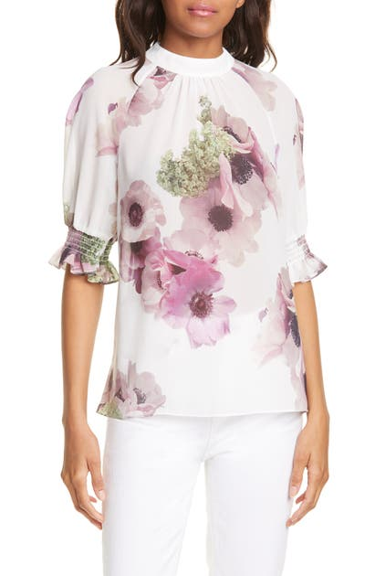 Ted Baker Neopolitan Floral Puff Sleeve Top In Ivory