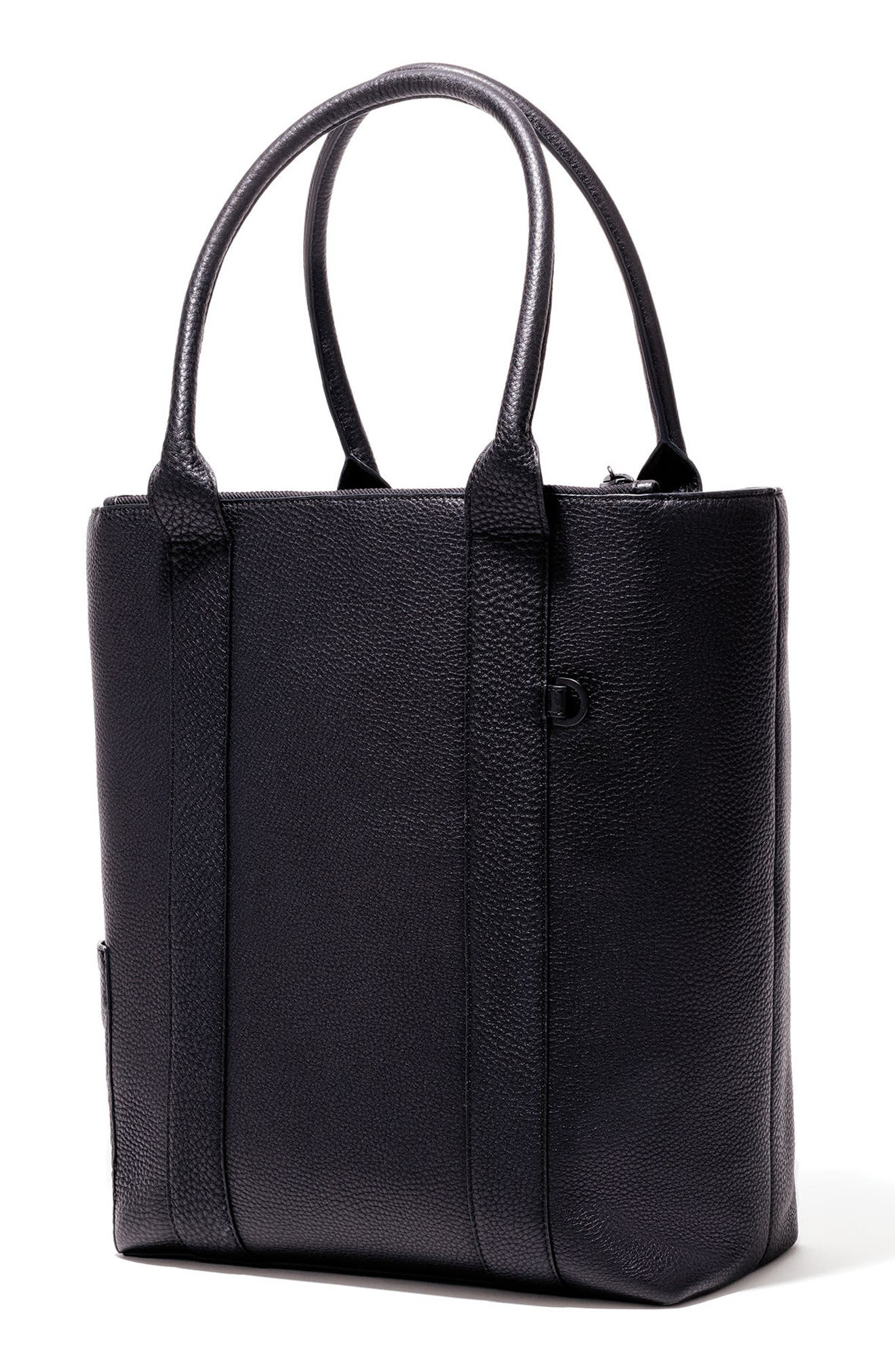 DAGNE DOVER, Charlie Leather Tote, Alternate thumbnail 3, color, ONYX