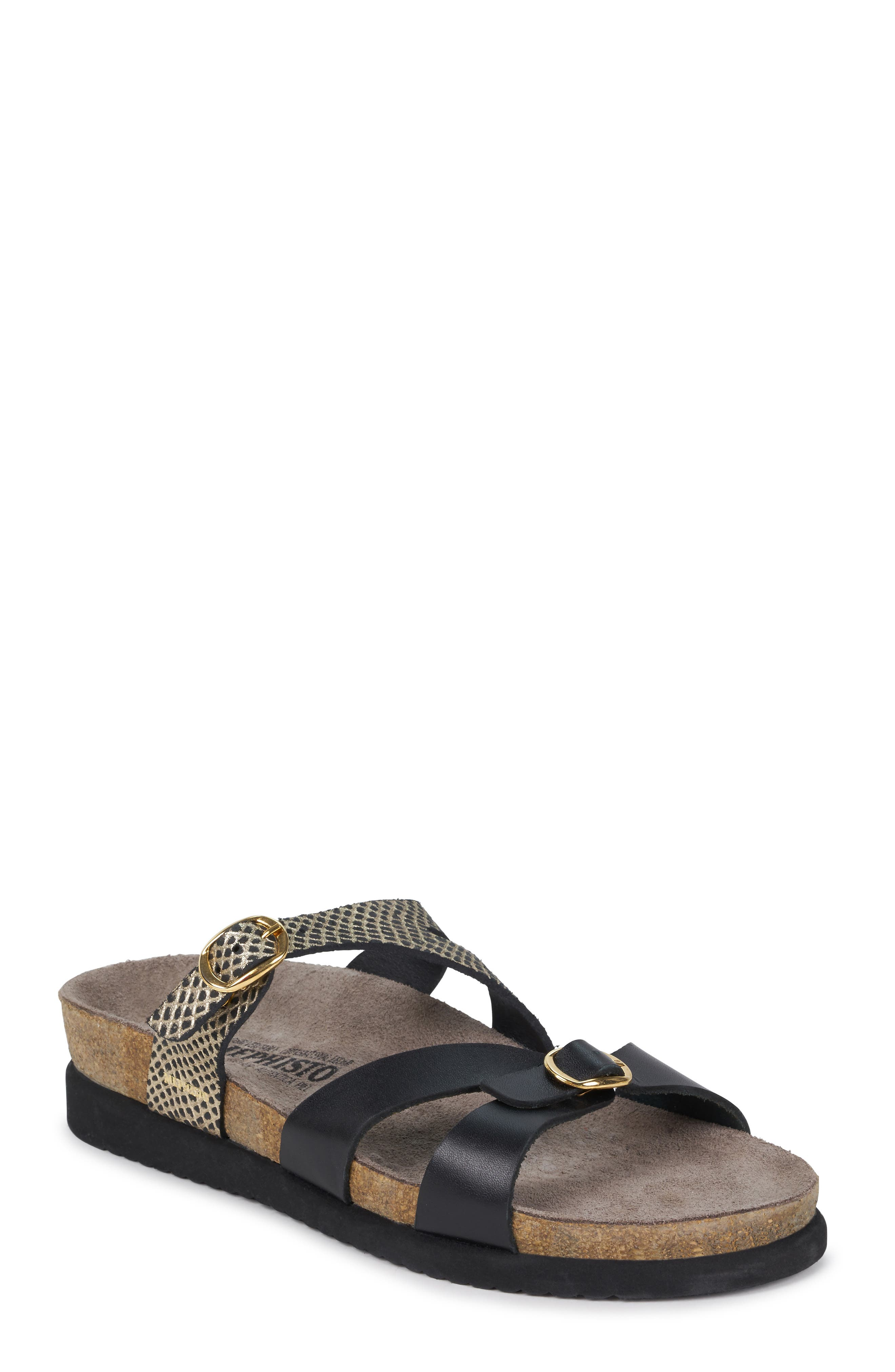 MEPHISTO, 'Hannel' Sandal, Main thumbnail 1, color, BLACK CUBA WAXY LEATHER