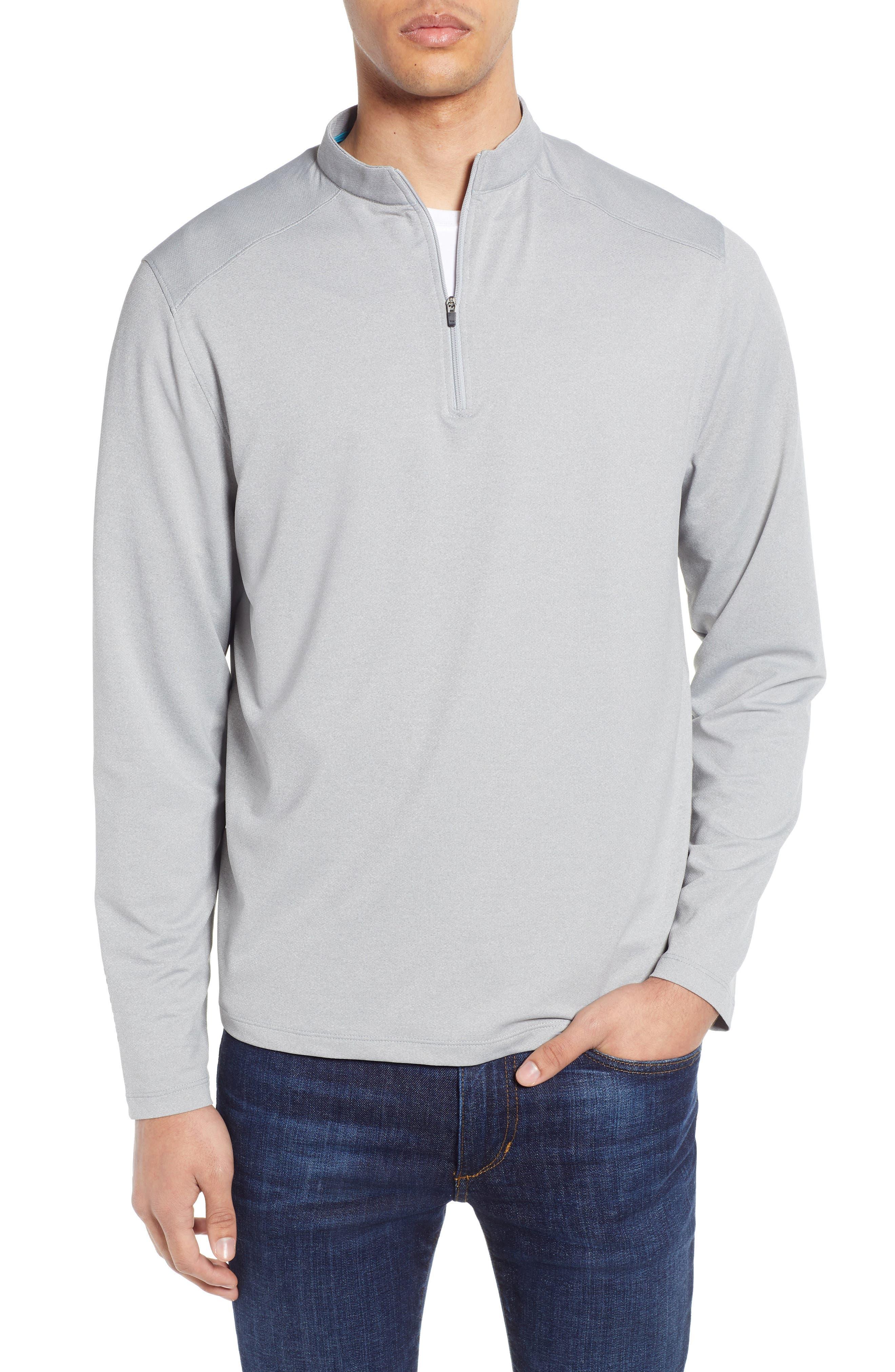 DEVEREUX, Lay-Low Half Zip Pullover, Main thumbnail 1, color, ASPHALT