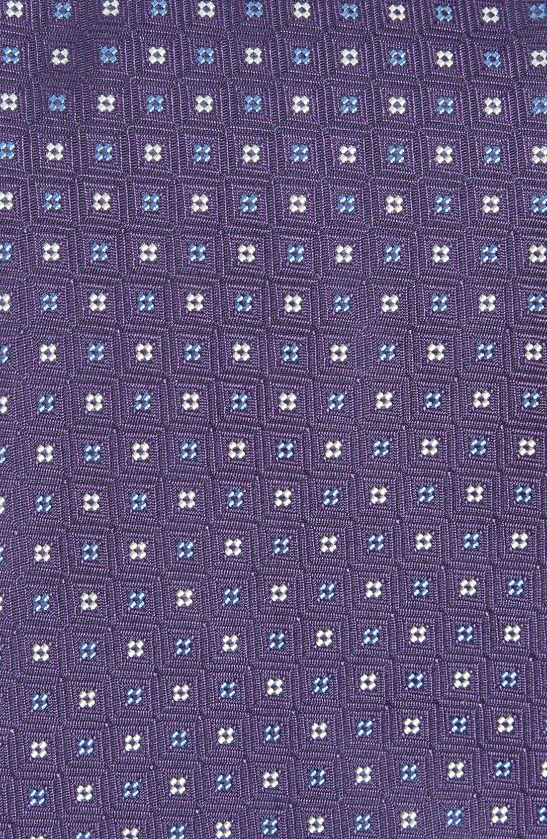 GITMAN, Geometric Silk Tie, Alternate thumbnail 2, color, PURPLE