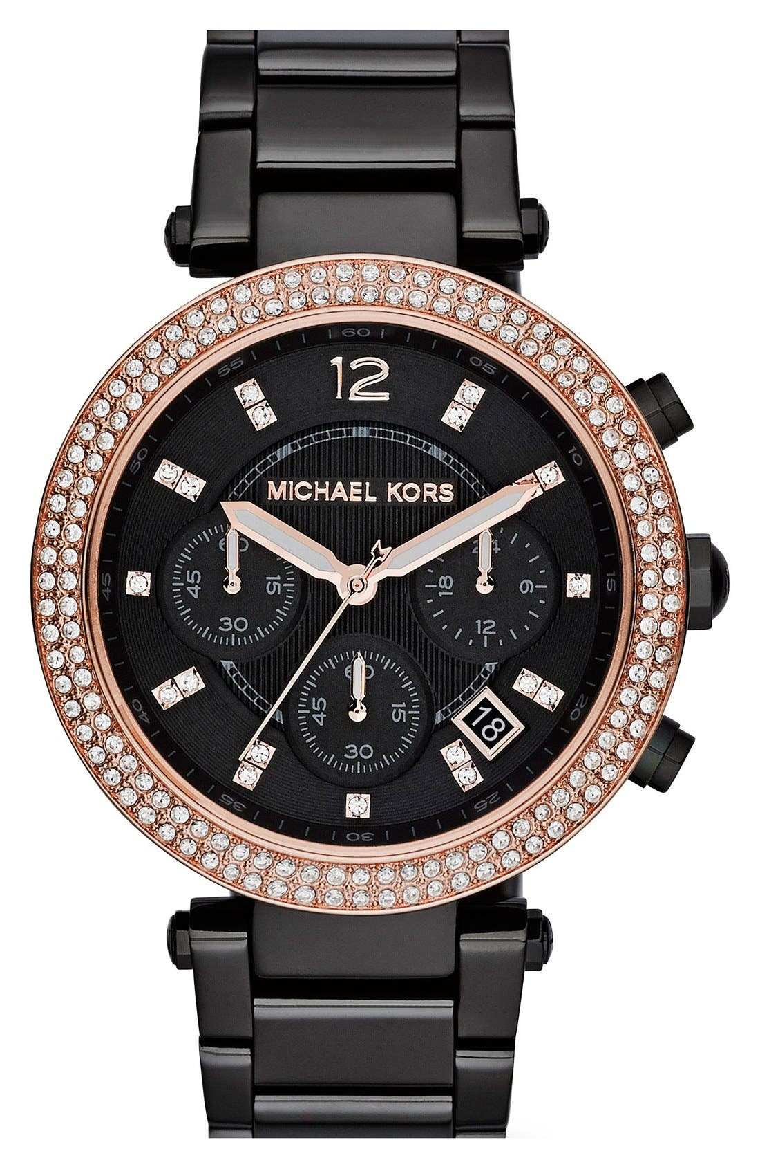 MICHAEL KORS ACCESS, Michael Kors 'Parker' Chronograph Bracelet Watch, 39mm, Main thumbnail 1, color, 001