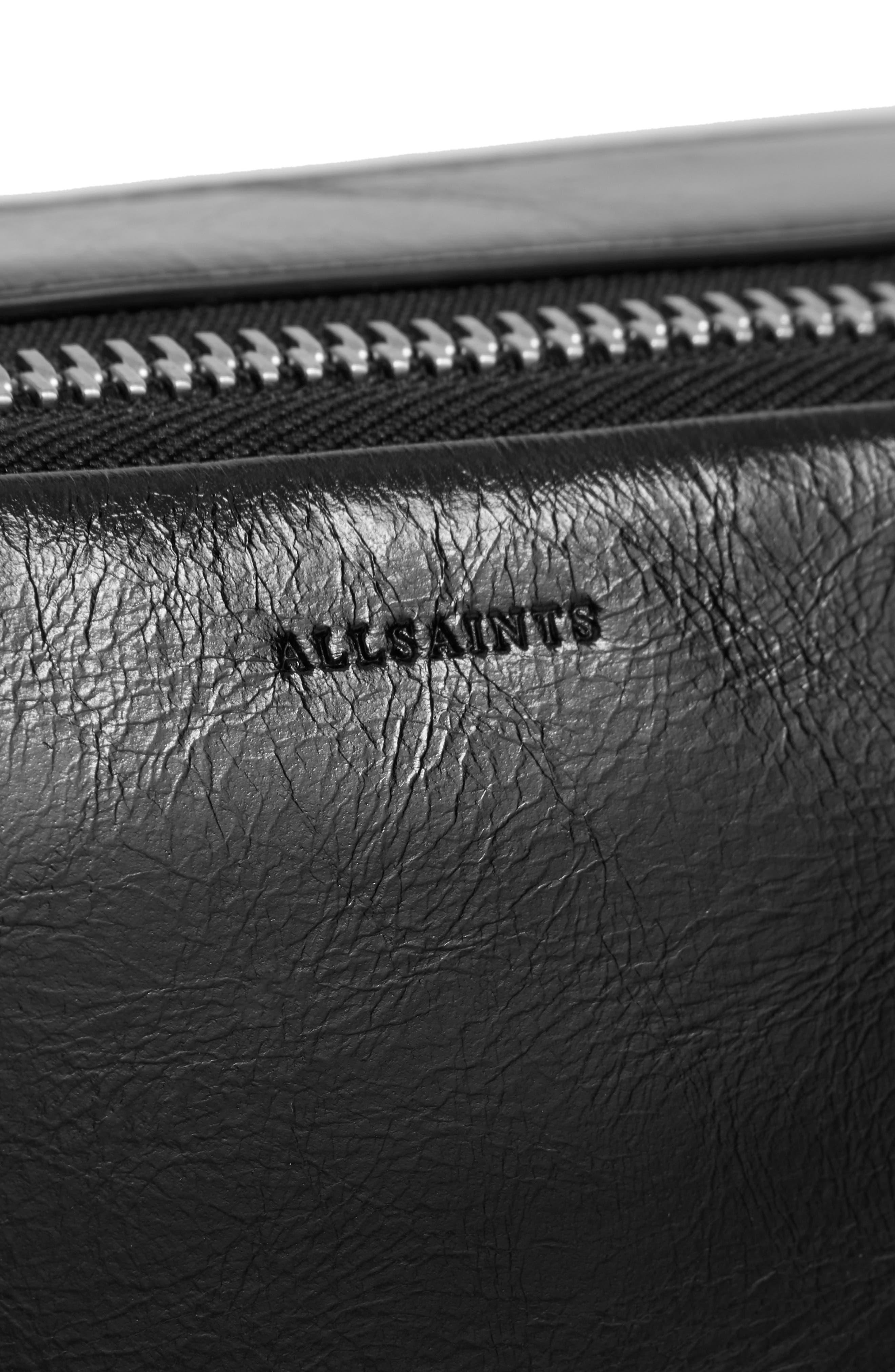 ALLSAINTS, Leather Belt Bag, Alternate thumbnail 8, color, 001