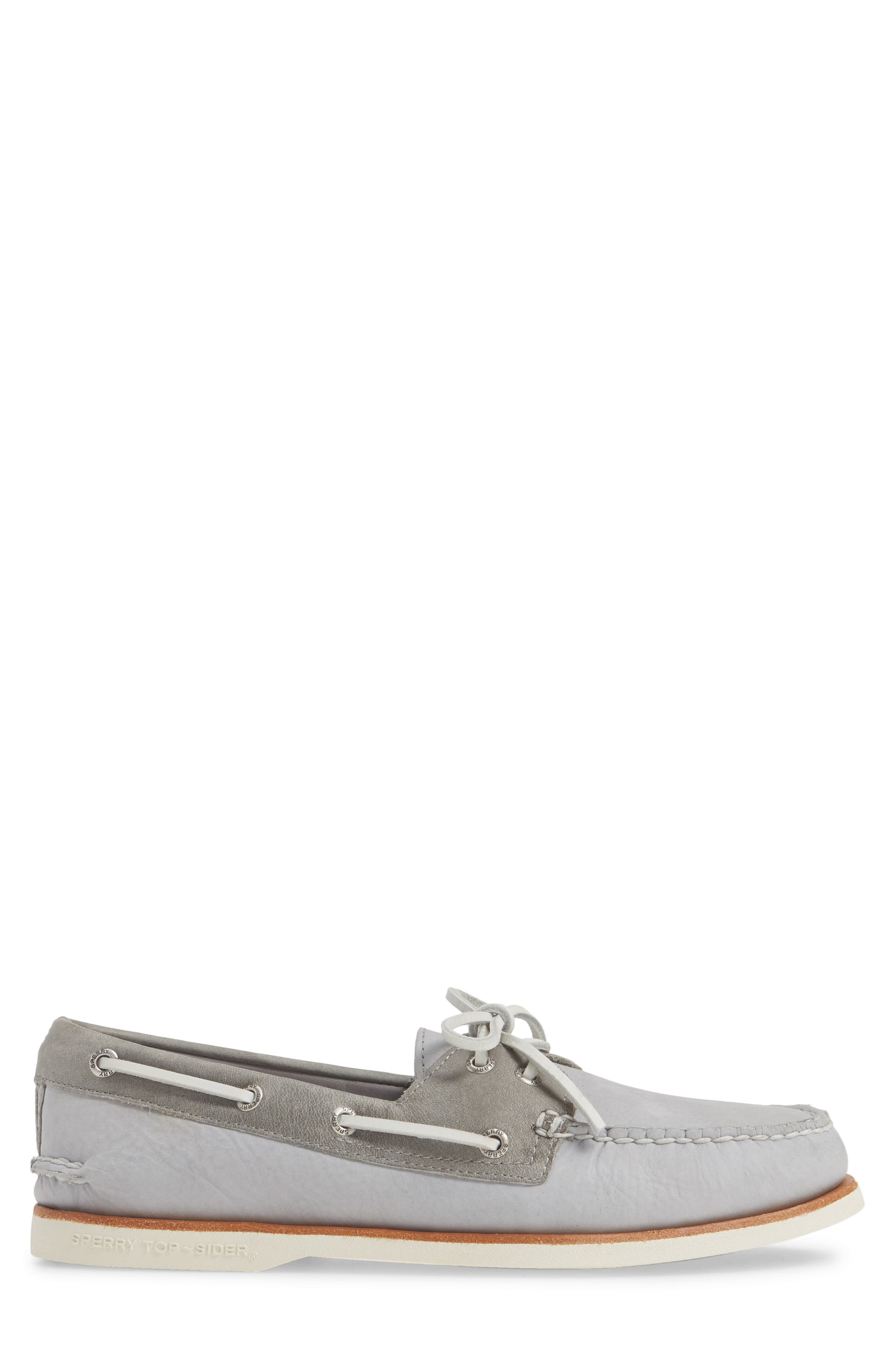 SPERRY, 'Gold Cup - Authentic Original' Boat Shoe, Alternate thumbnail 3, color, GREY/GREY LEATHER
