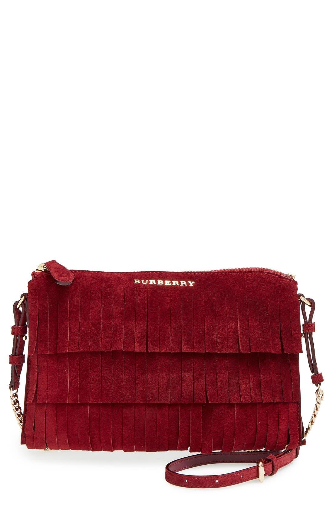 BURBERRY 'Peyton' Fringe Suede Crossbody Bag, Main, color, 600