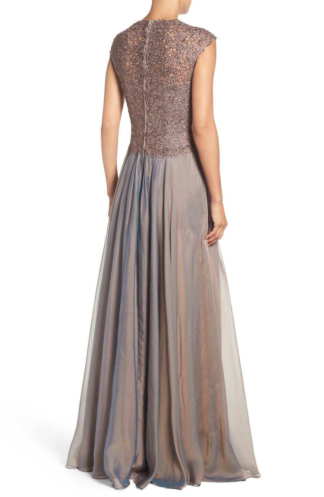 LA FEMME, Ruched Chiffon Gown, Alternate thumbnail 2, color, COCOA