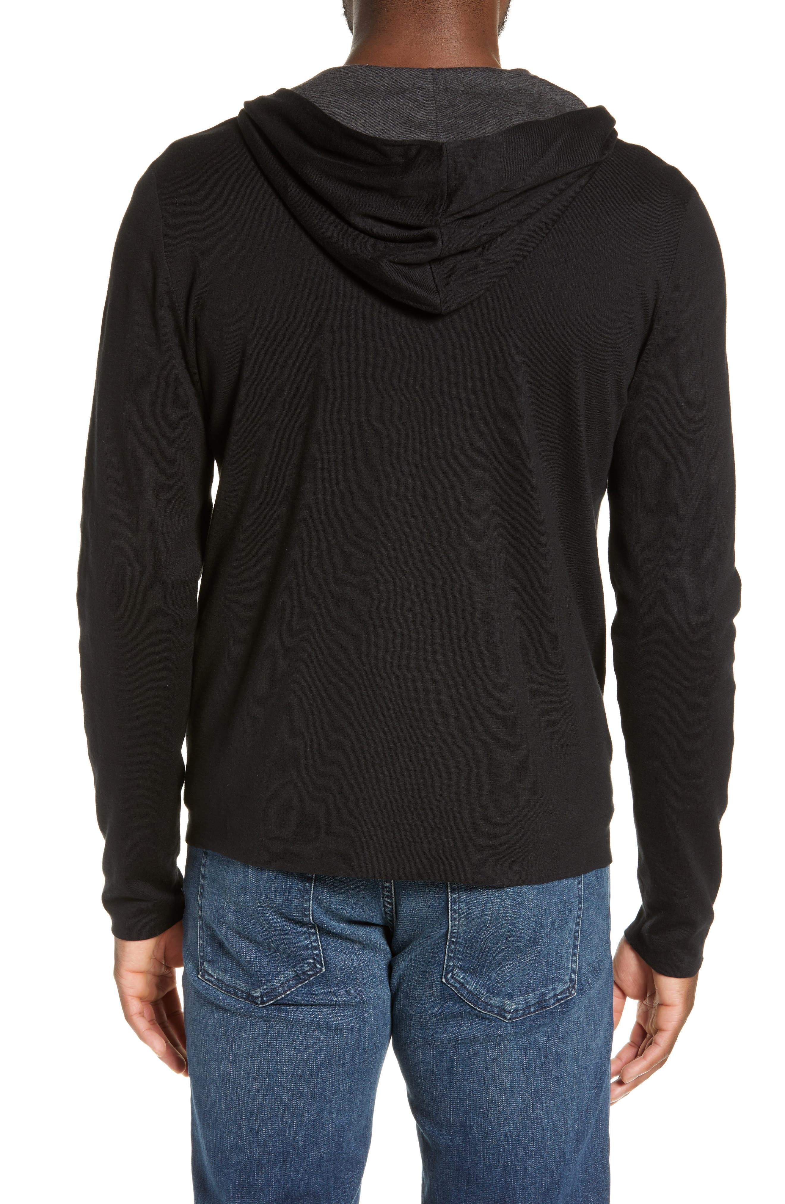 JAMES PERSE, Double Layer Full Zip Hoodie, Alternate thumbnail 2, color, 003