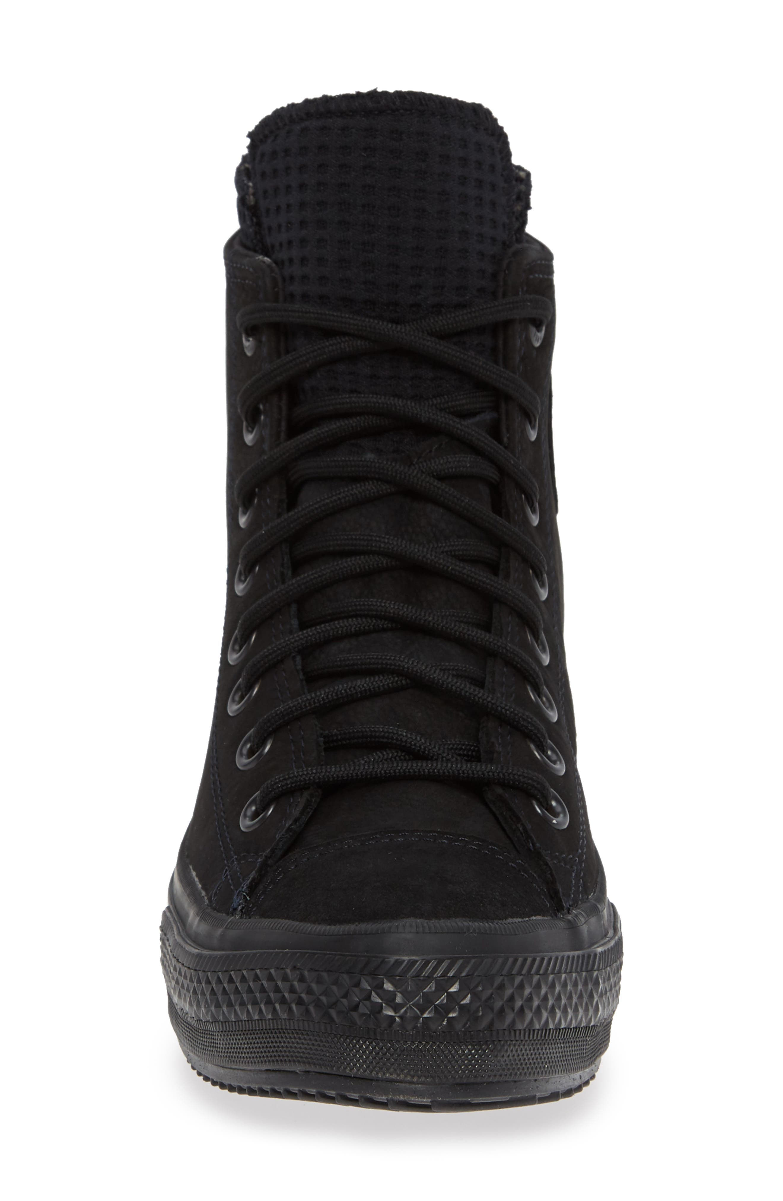 CONVERSE, Chuck Taylor<sup>®</sup> All Star<sup>®</sup> Counter Climate Waterproof Sneaker, Alternate thumbnail 4, color, BLACK/ BLACK/ BLACK