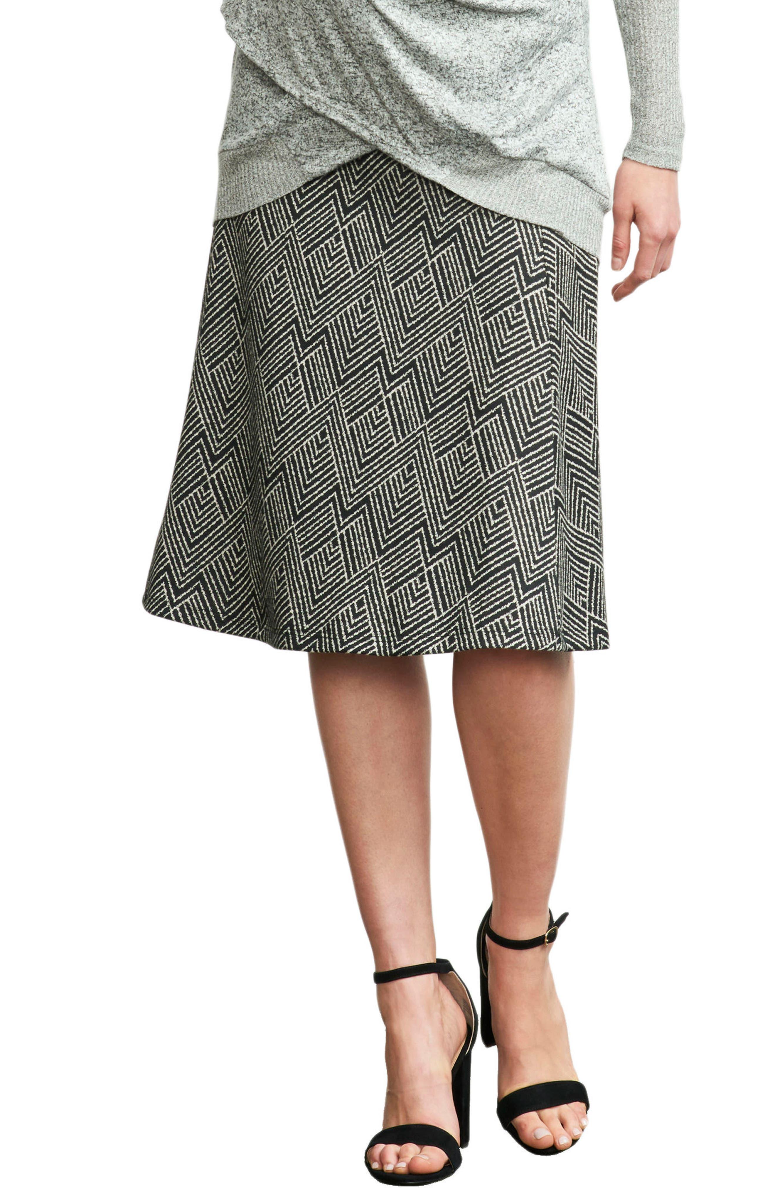 MATERNAL AMERICA, Print A-Line Maternity Skirt, Main thumbnail 1, color, IVORY DIAMOND