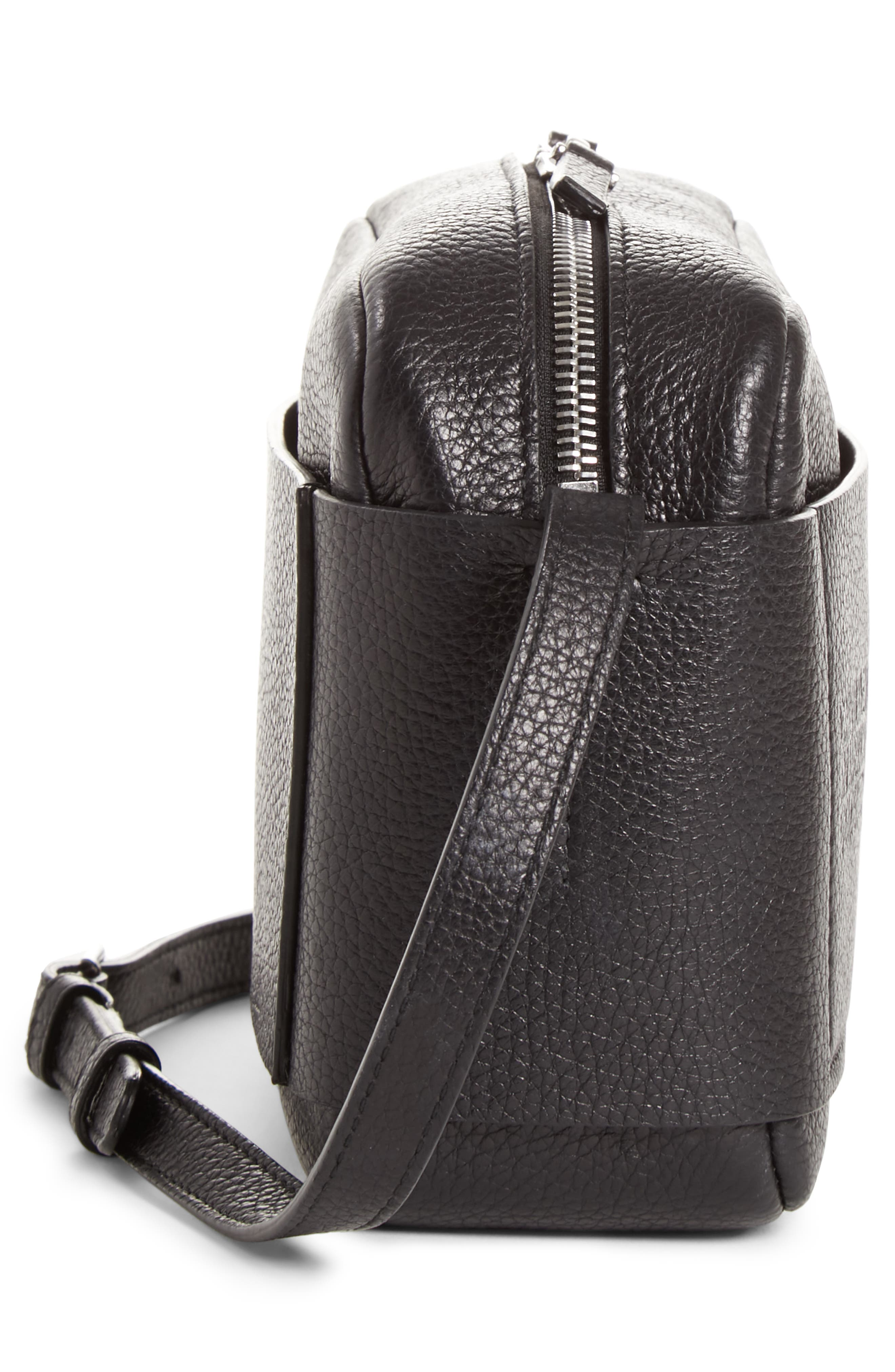 CALVIN KLEIN 205W39NYC, Belle Leather Camera Bag, Alternate thumbnail 5, color, BLACK