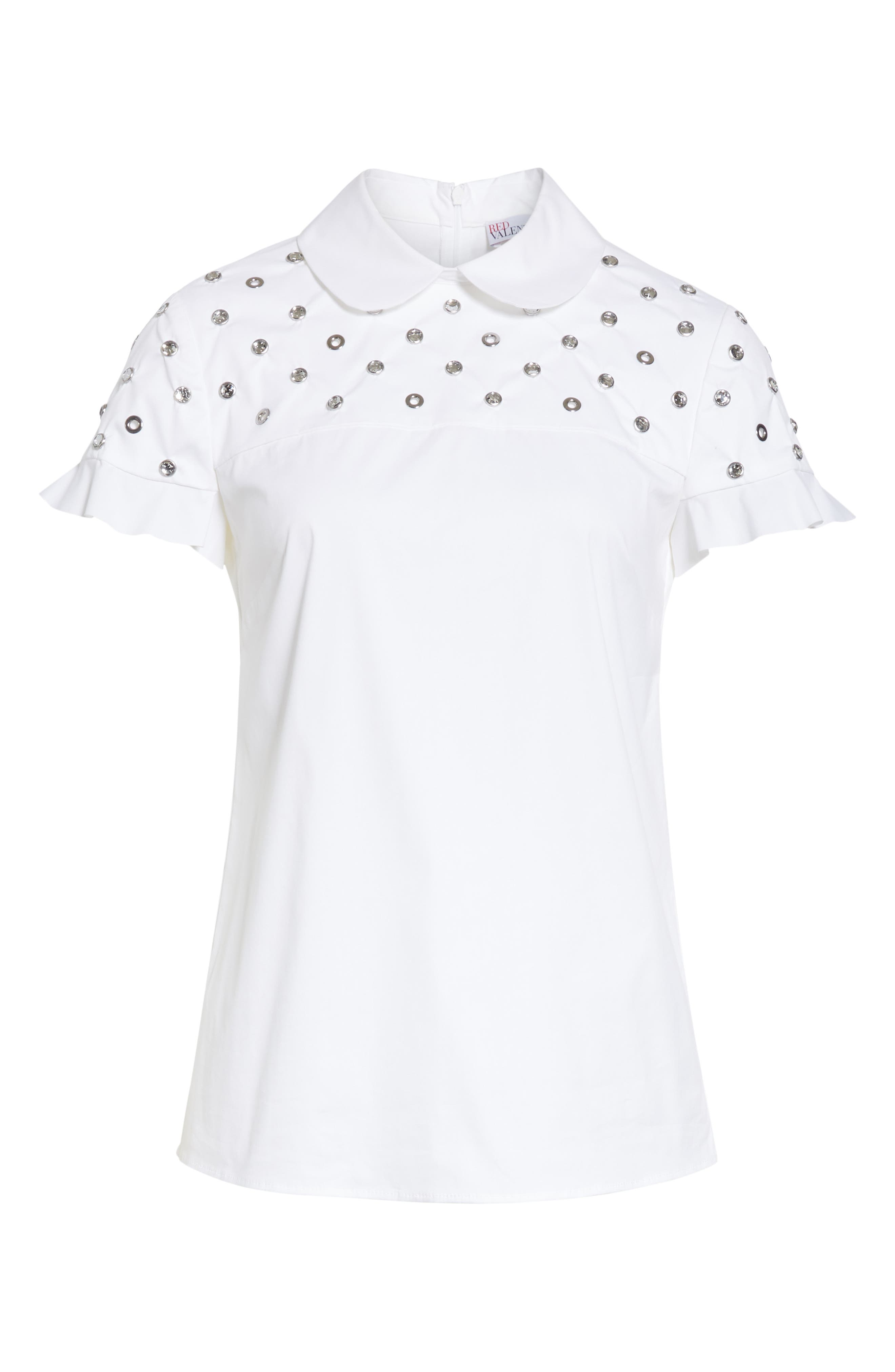 RED VALENTINO, Grommet & Crystal Ruffle Sleeve Top, Alternate thumbnail 6, color, BIANCO OTTICO