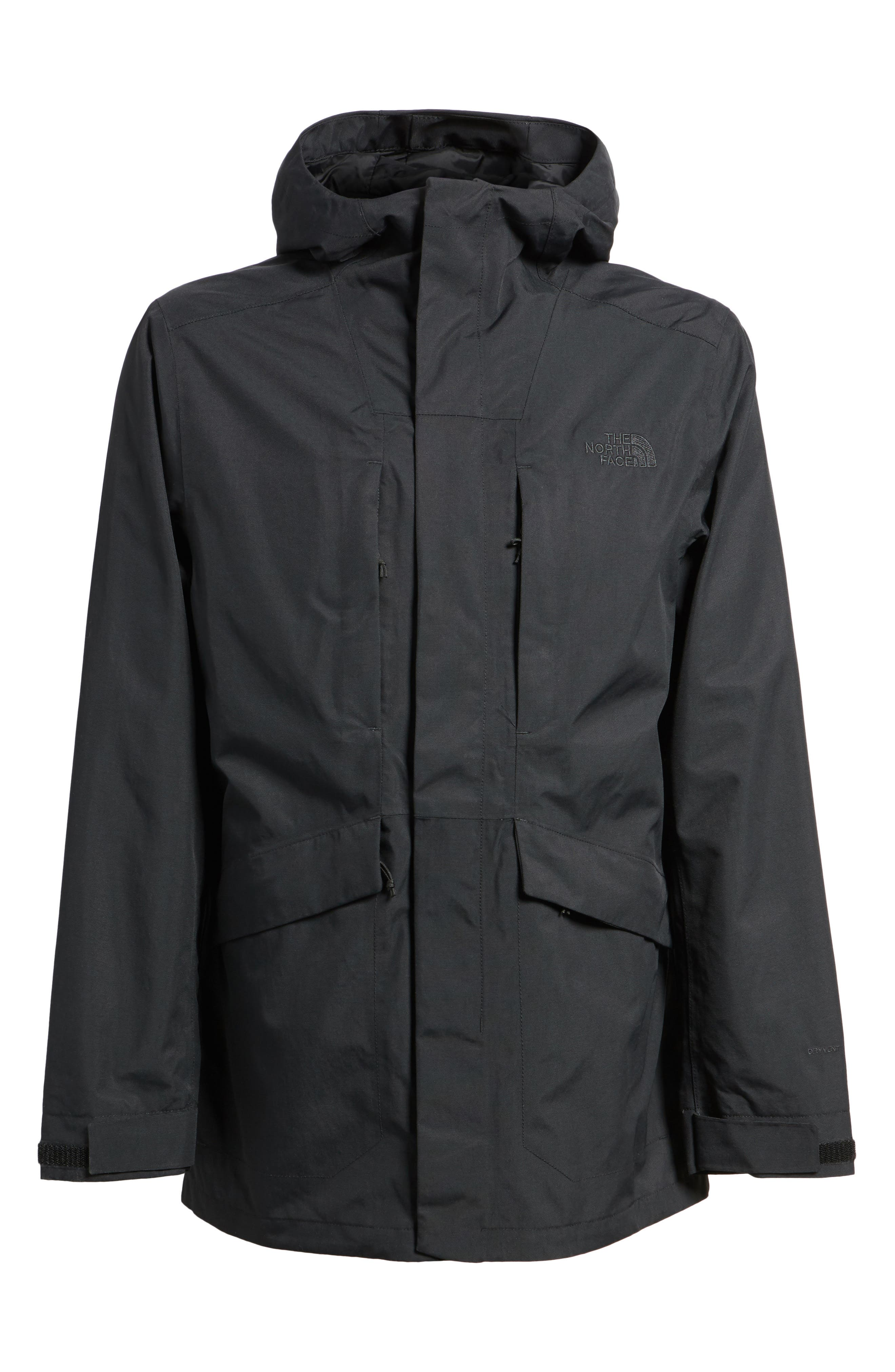 THE NORTH FACE, El Misti Trench II Hooded Jacket, Alternate thumbnail 6, color, 001