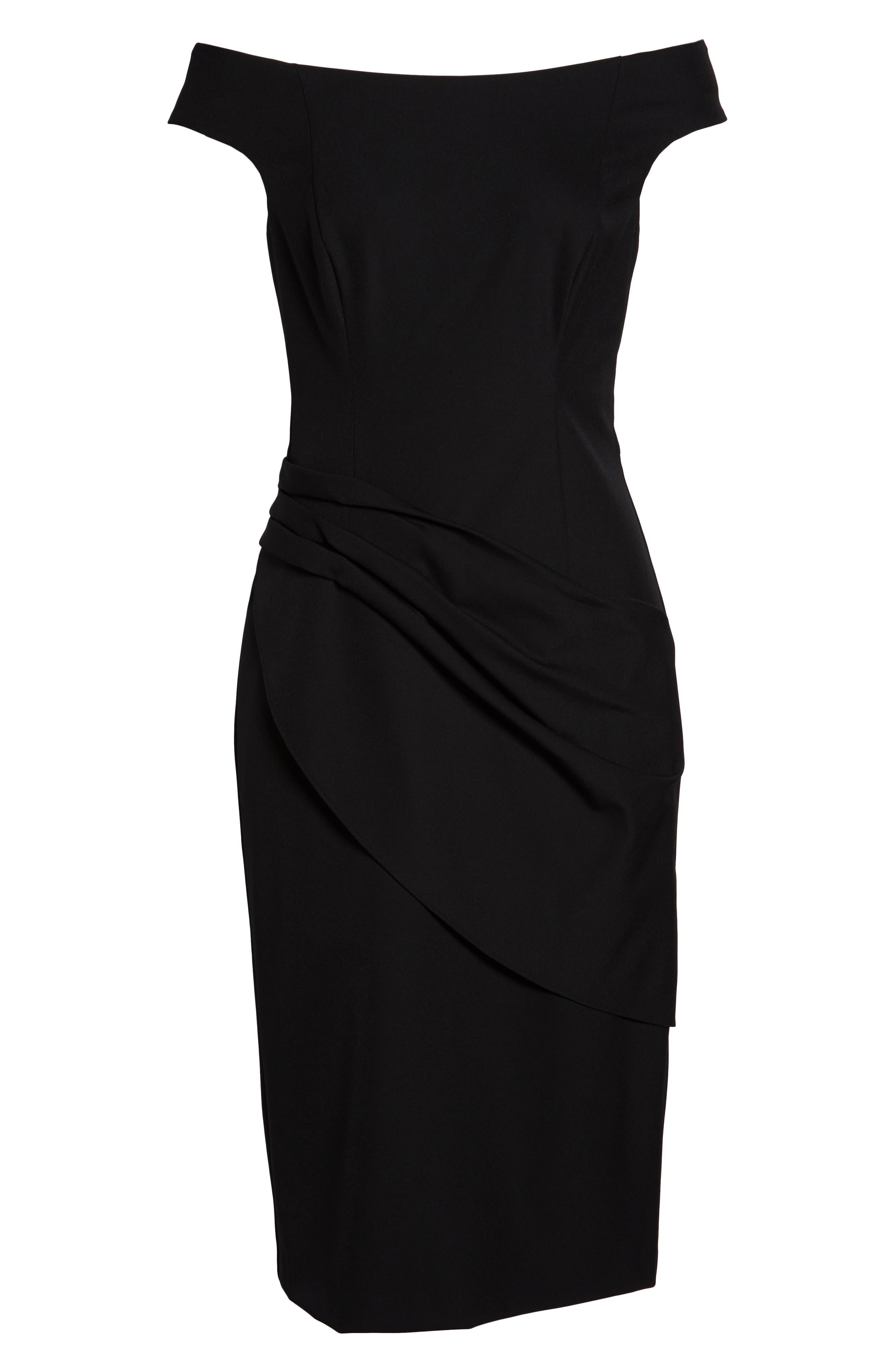 ELIZA J, Off the Shoulder Sheath Dress, Alternate thumbnail 8, color, BLACK