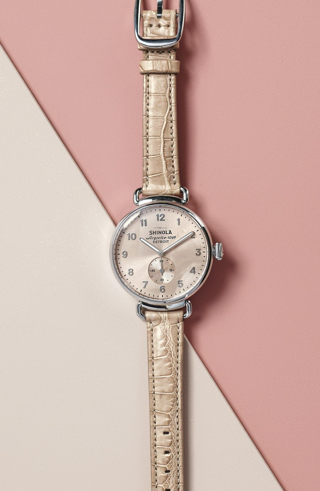 SHINOLA, The Canfield Leather Strap Watch, 38mm, Alternate thumbnail 6, color, NATURAL/ METALLIC/ SILVER