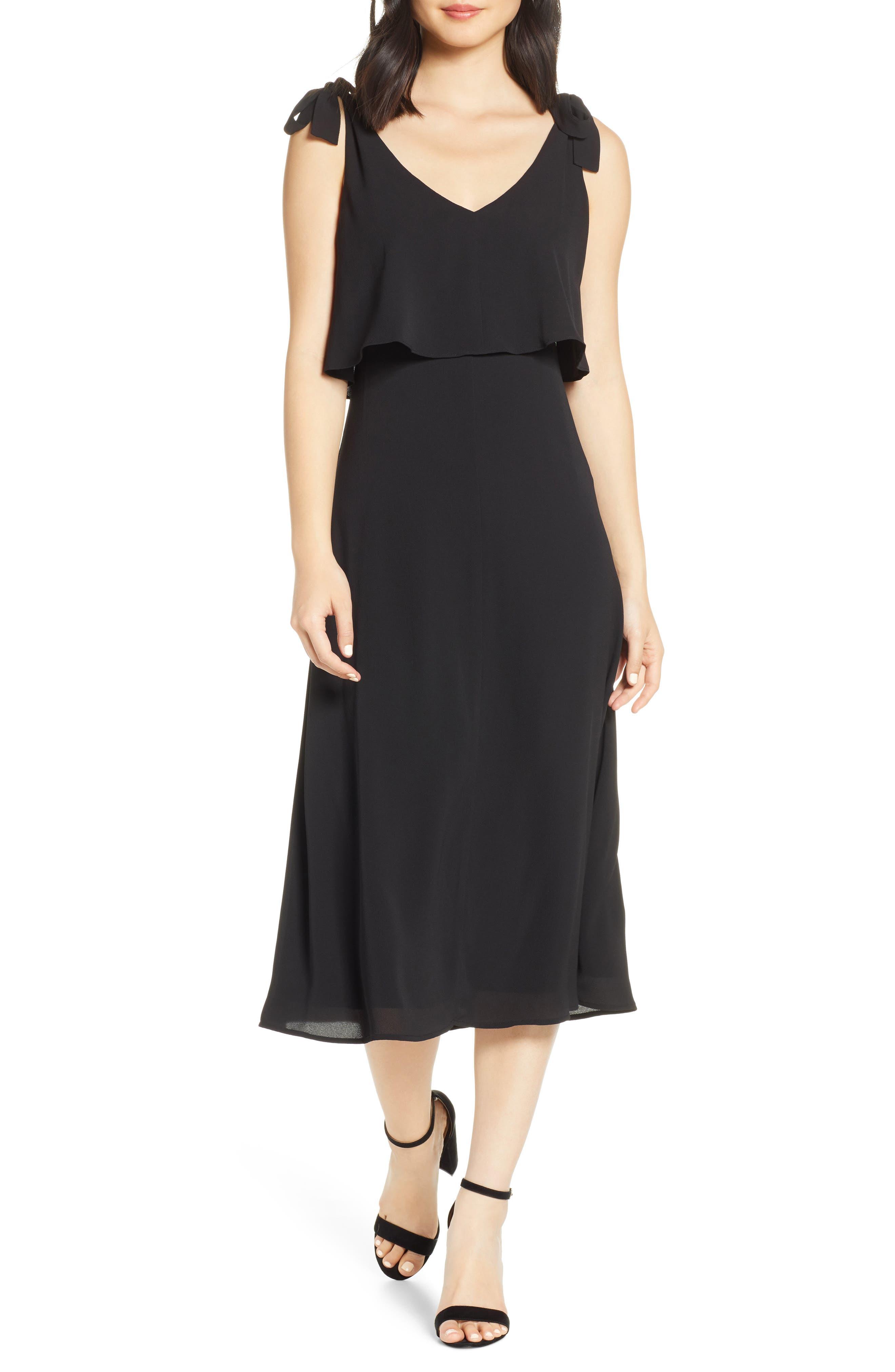 CHARLES HENRY, Tie Shoulder Popover Midi Dress, Main thumbnail 1, color, BLACK