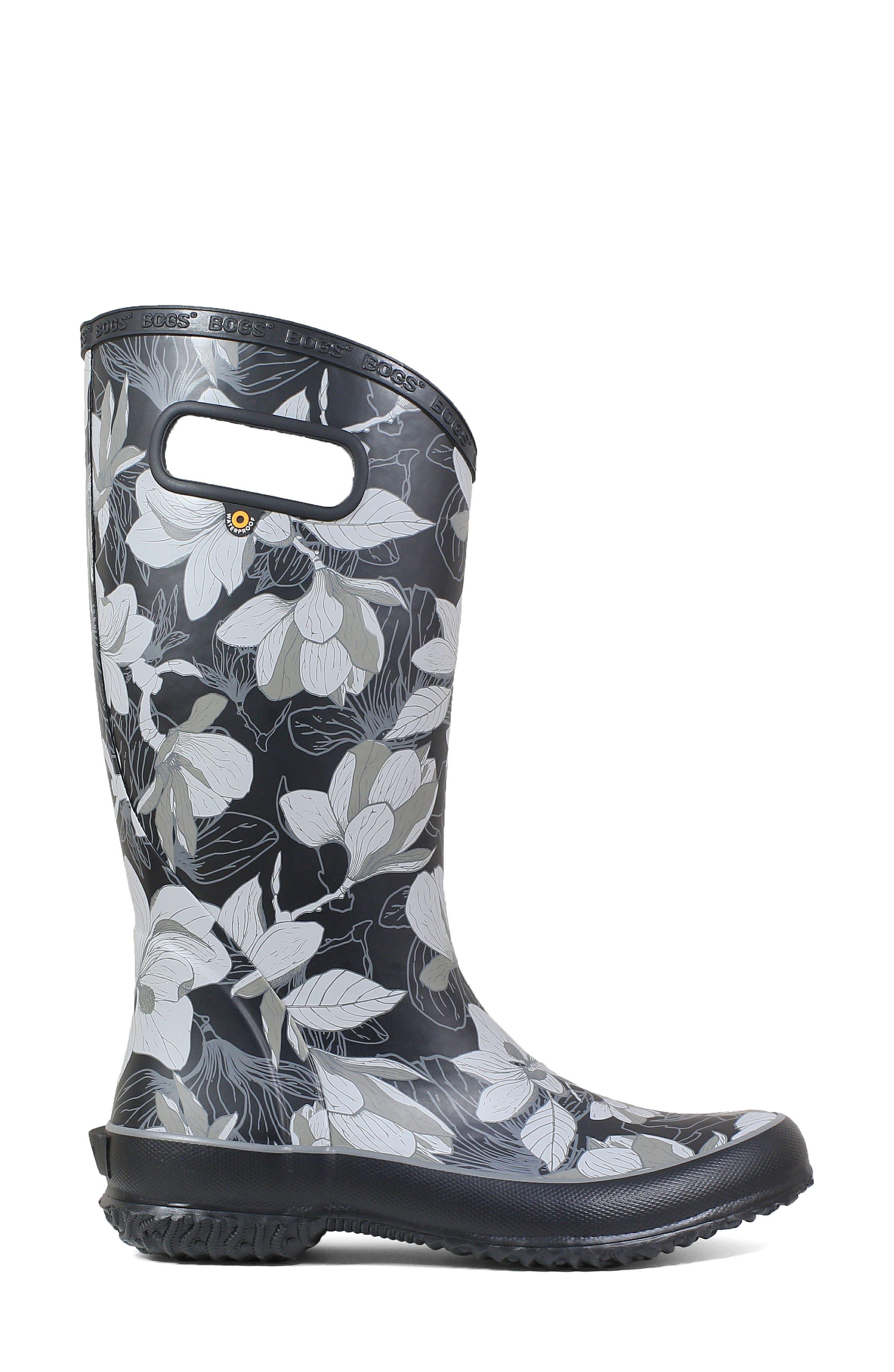 BOGS, Classic Tall Waterproof Rain Boot, Alternate thumbnail 3, color, BLACK MULTI RUBBER