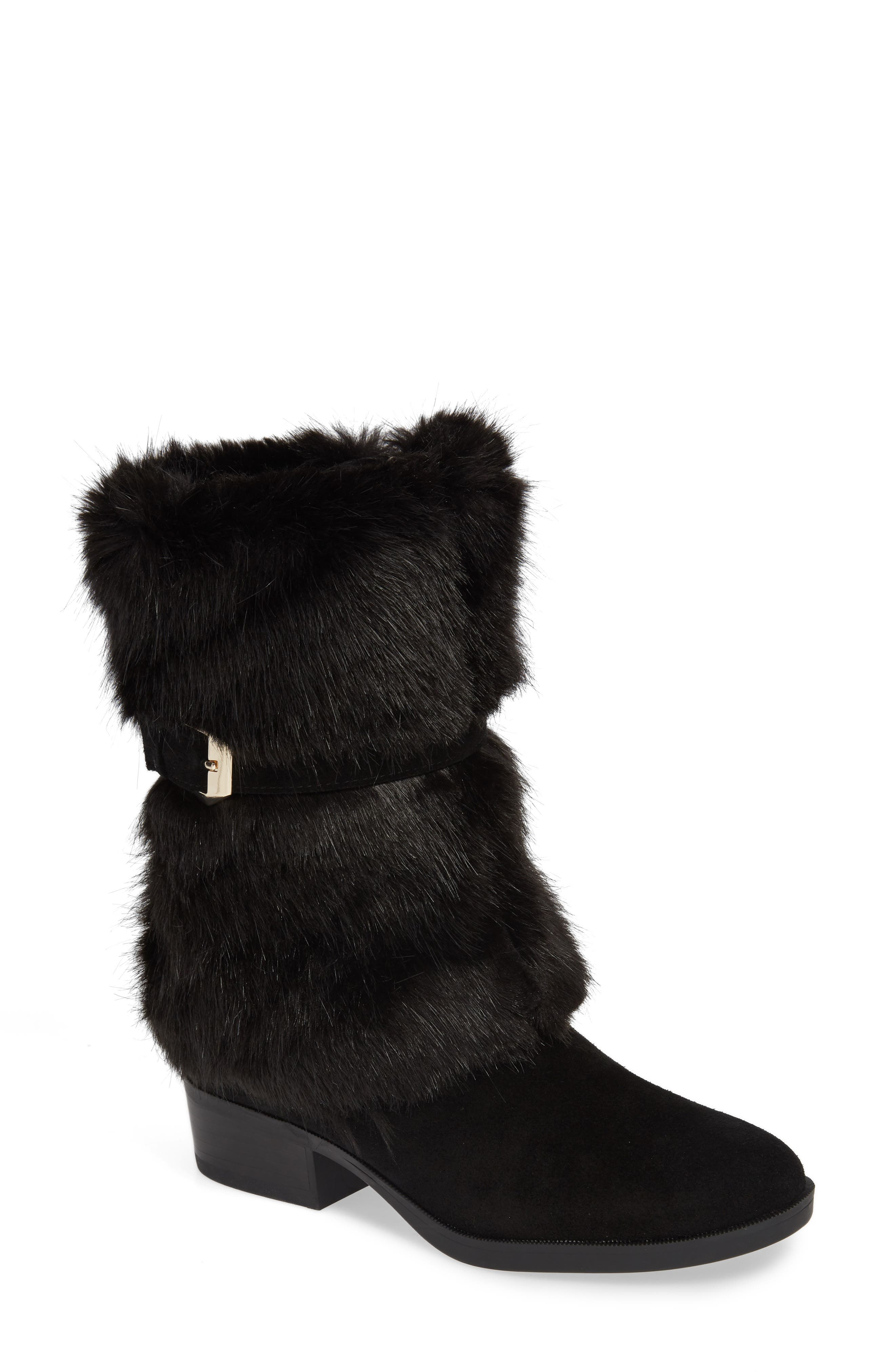 TARYN ROSE, Giselle Water Resistant Faux Fur Boot, Main thumbnail 1, color, BLACK SUEDE