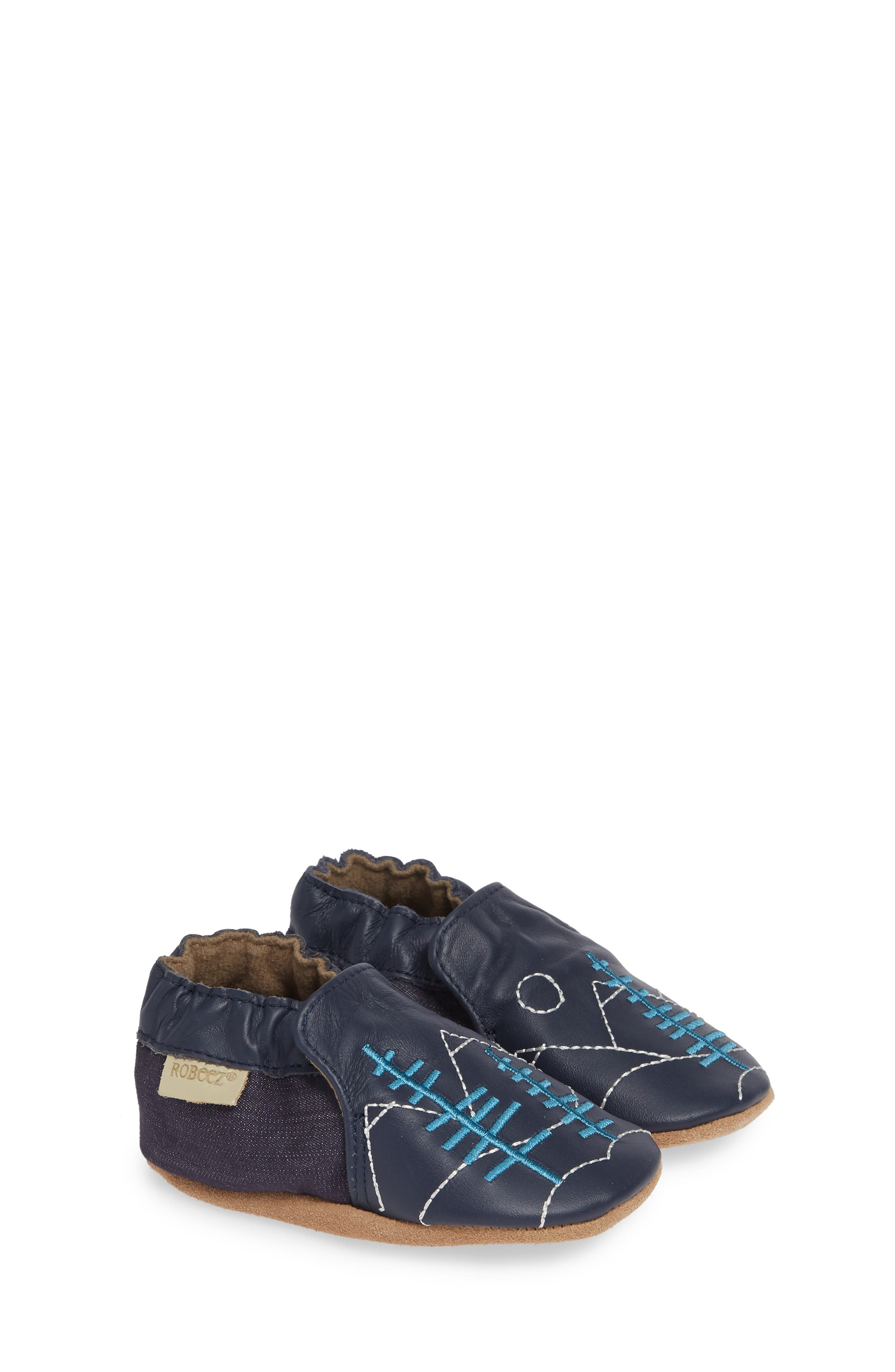 ROBEEZ<SUP>®</SUP>, Mountain Explorer Moccasin Crib Shoe, Alternate thumbnail 2, color, NAVY