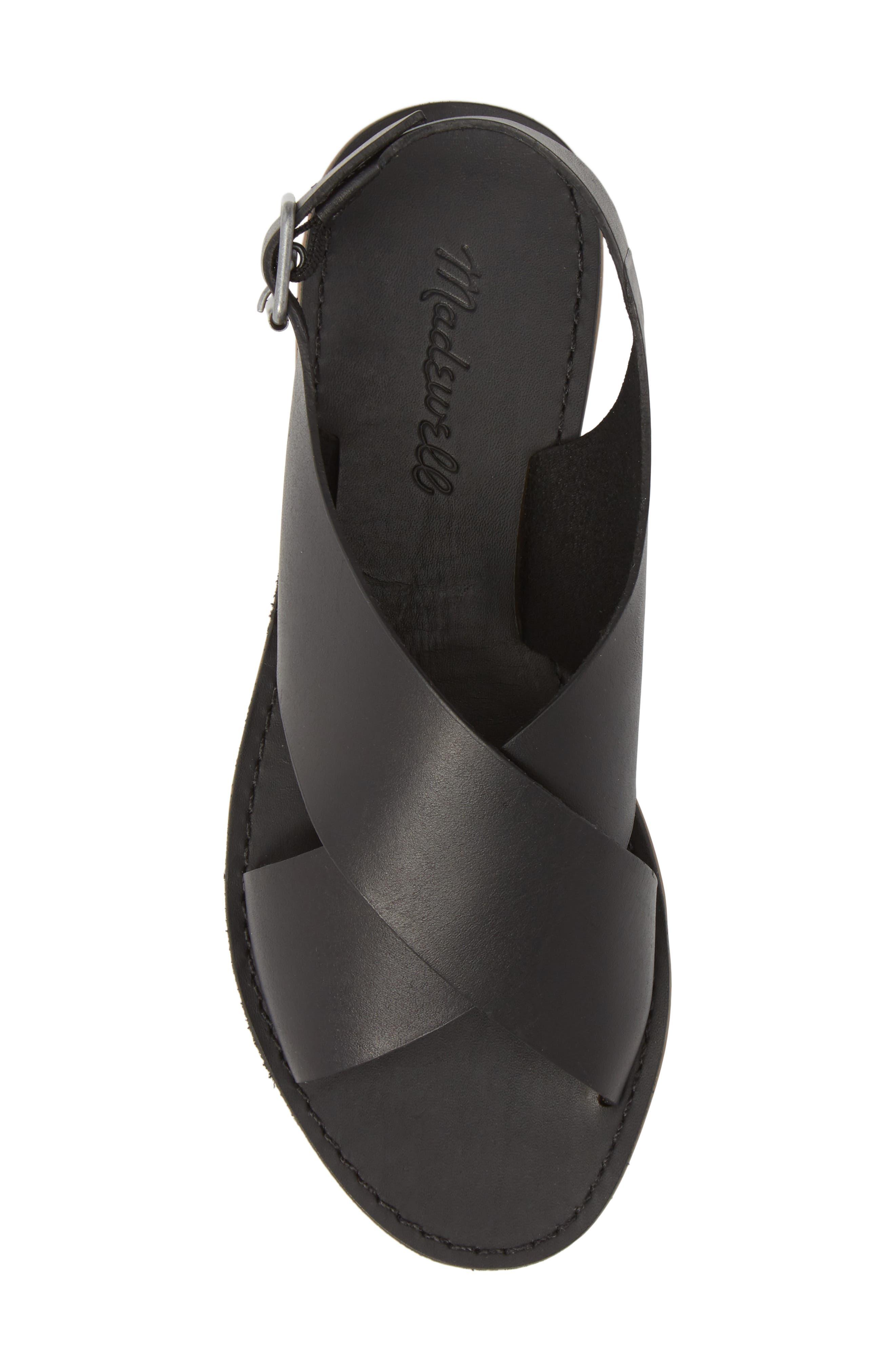 MADEWELL, Boardwalk Flat Sandal, Alternate thumbnail 5, color, TRUE BLACK