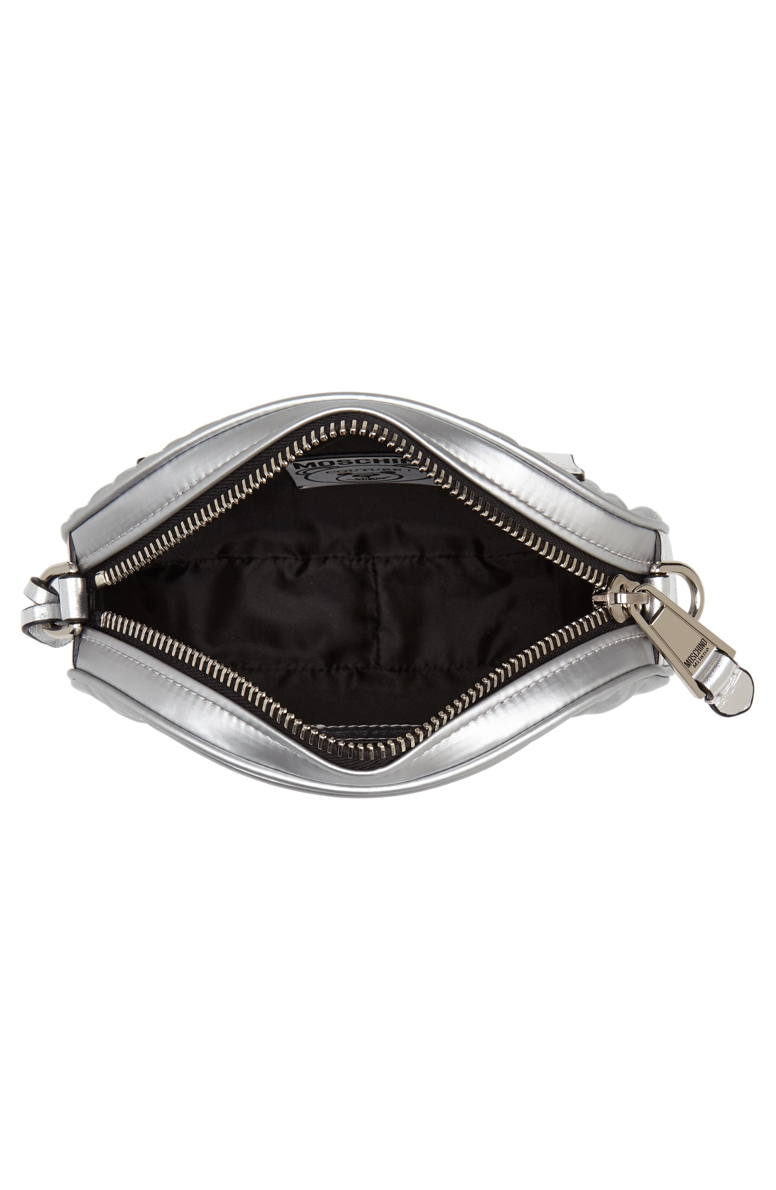 MOSCHINO, Silver Teddy Belt Bag, Alternate thumbnail 5, color, SILVER