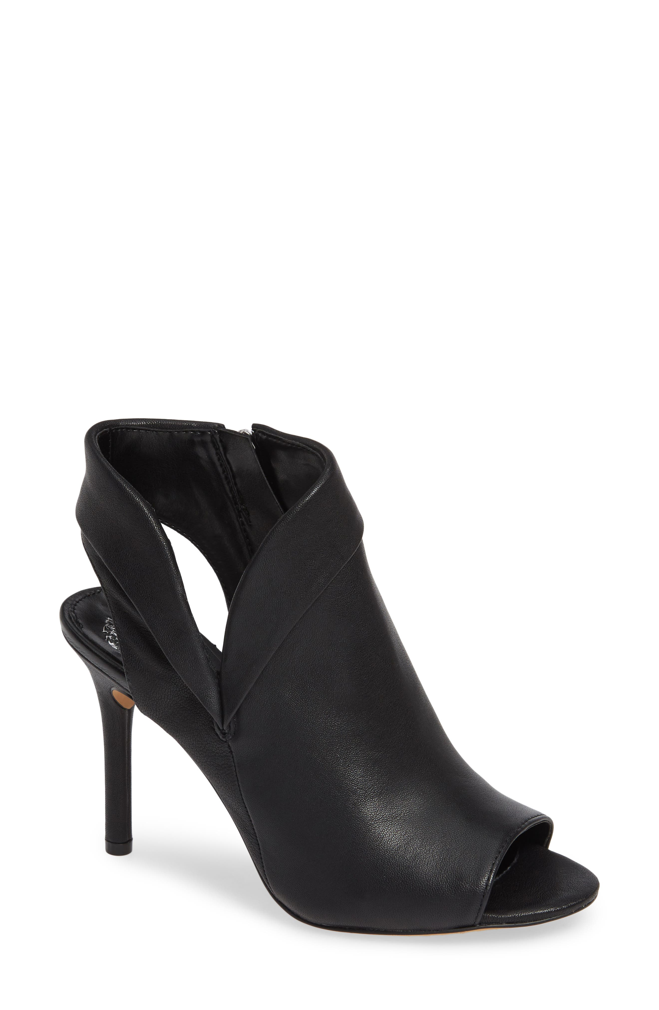 VINCE CAMUTO, Cholia Asymmetrical Sandal Bootie, Main thumbnail 1, color, BLACK LEATHER