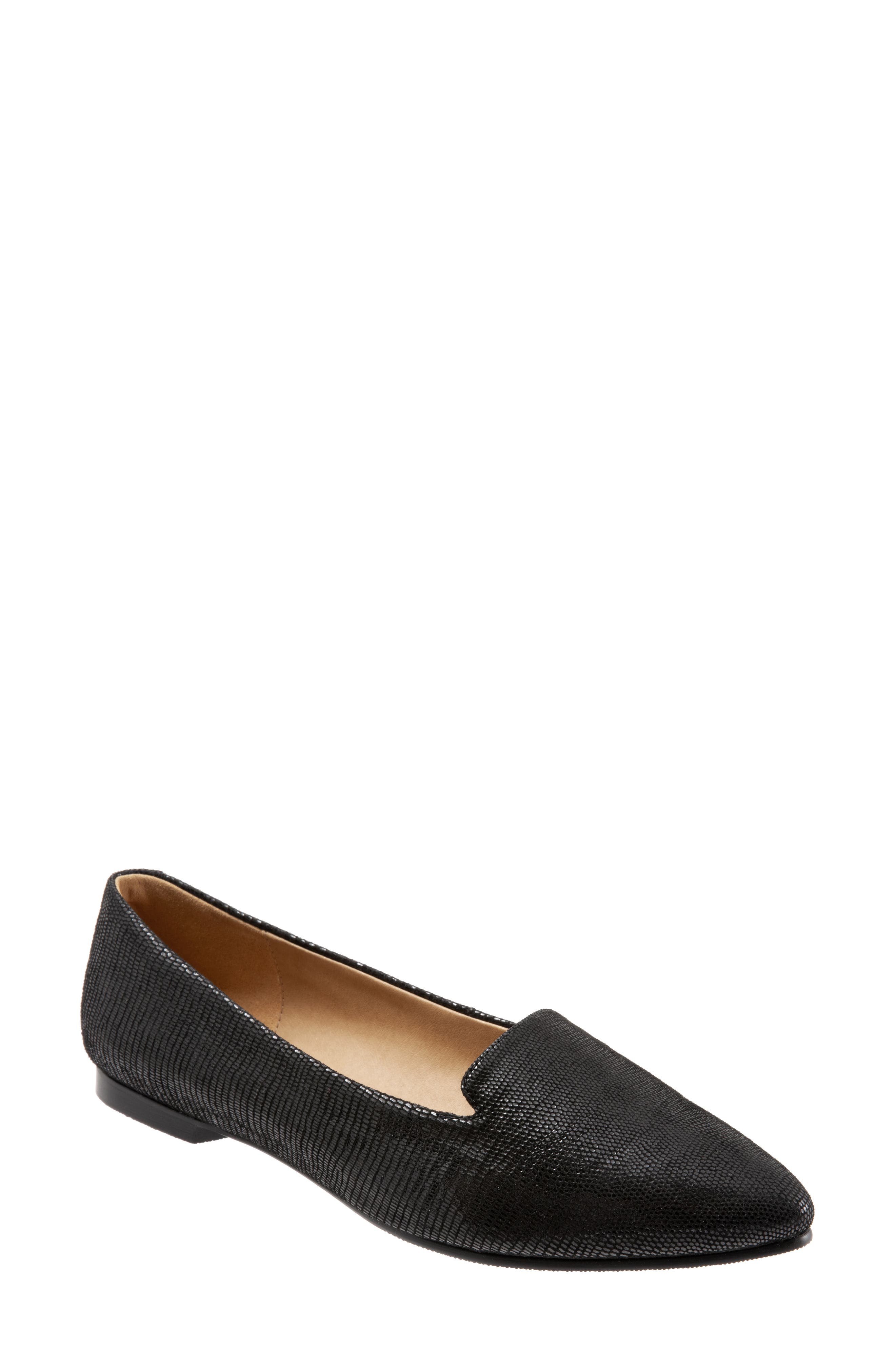 TROTTERS Harlowe Pointy Toe Loafer, Main, color, DARK BLACK LEATHER