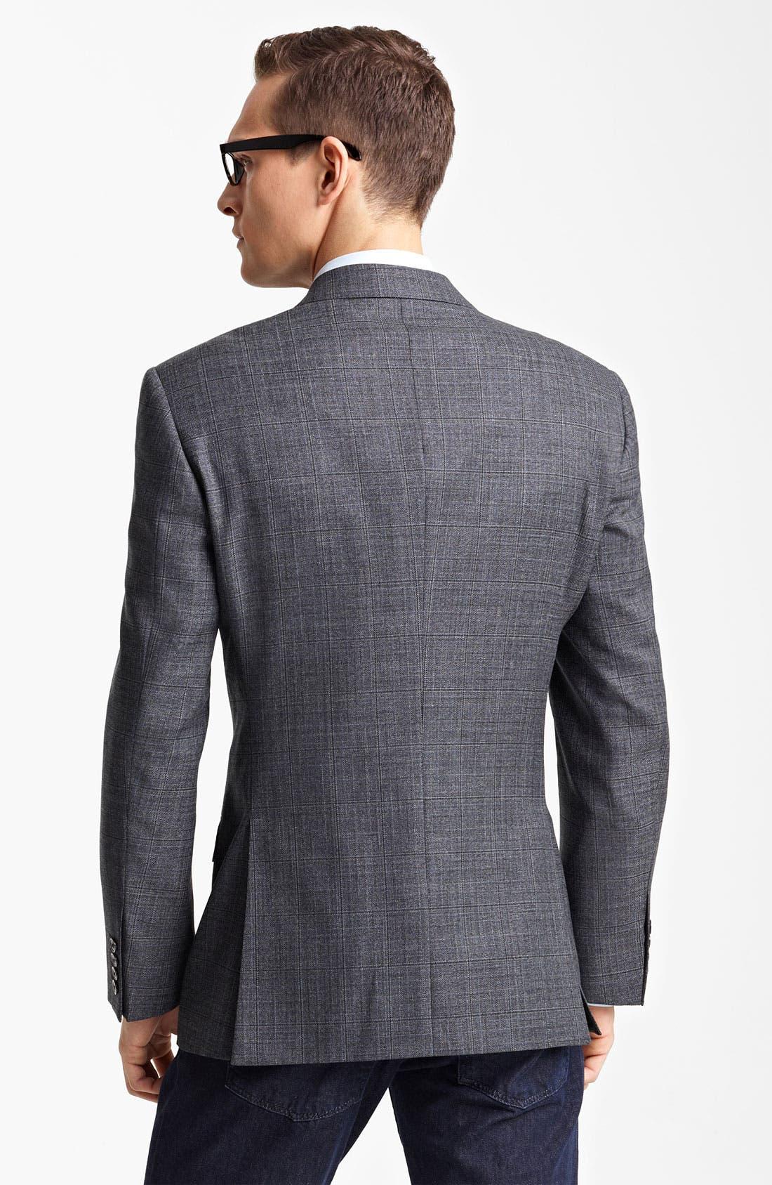 EMPORIO ARMANI, Armani Collezioni Windowpane Wool & Silk Sportcoat, Alternate thumbnail 2, color, 026