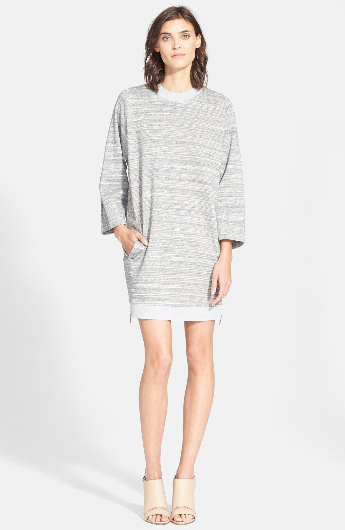 VINCE Rib Trim Mélange Dress, Main, color, 022