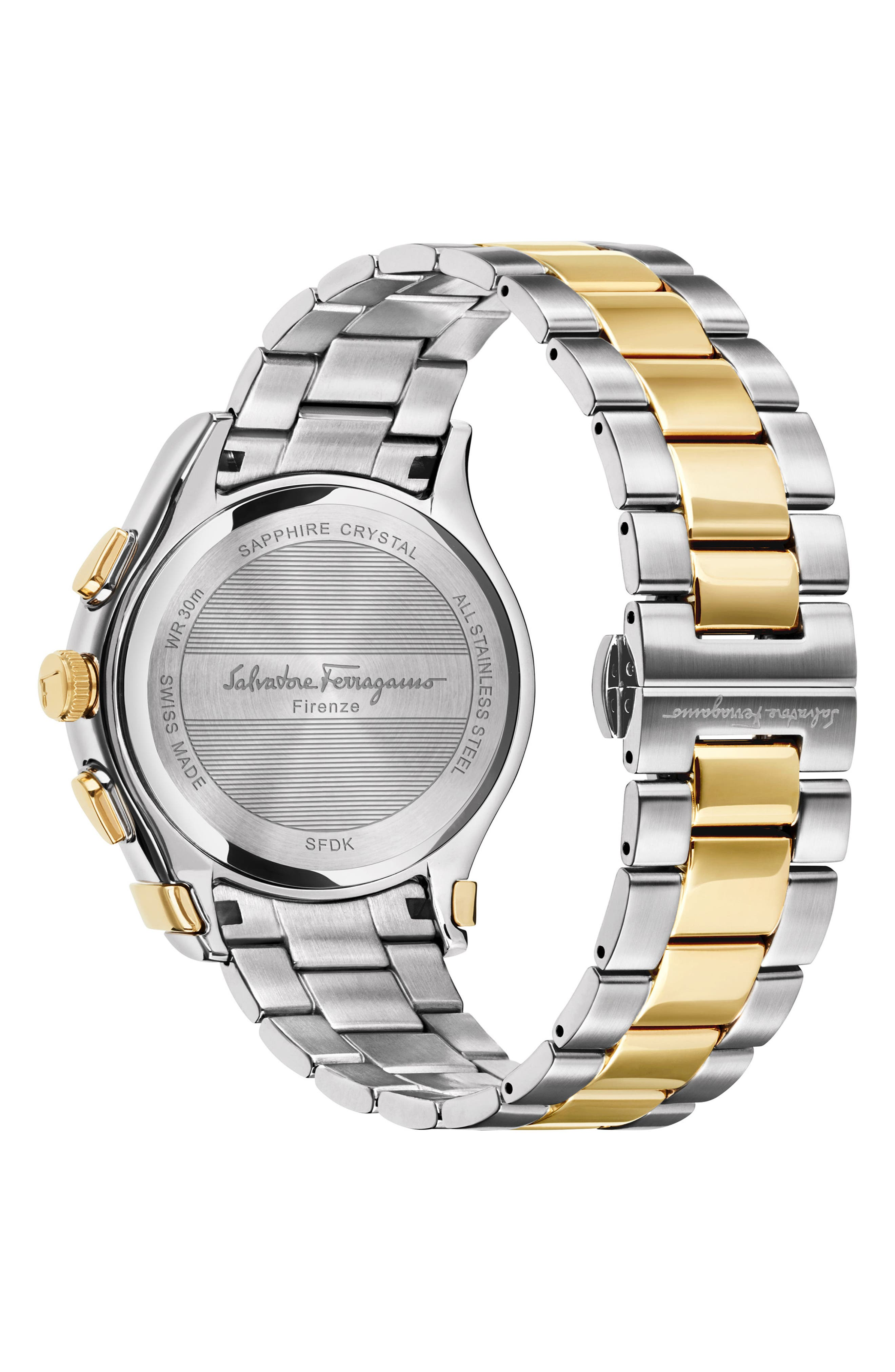 SALVATORE FERRAGAMO, 1898 Chronograph Bracelet Watch, 42mm, Alternate thumbnail 2, color, SILVER/ BLUE/ GOLD