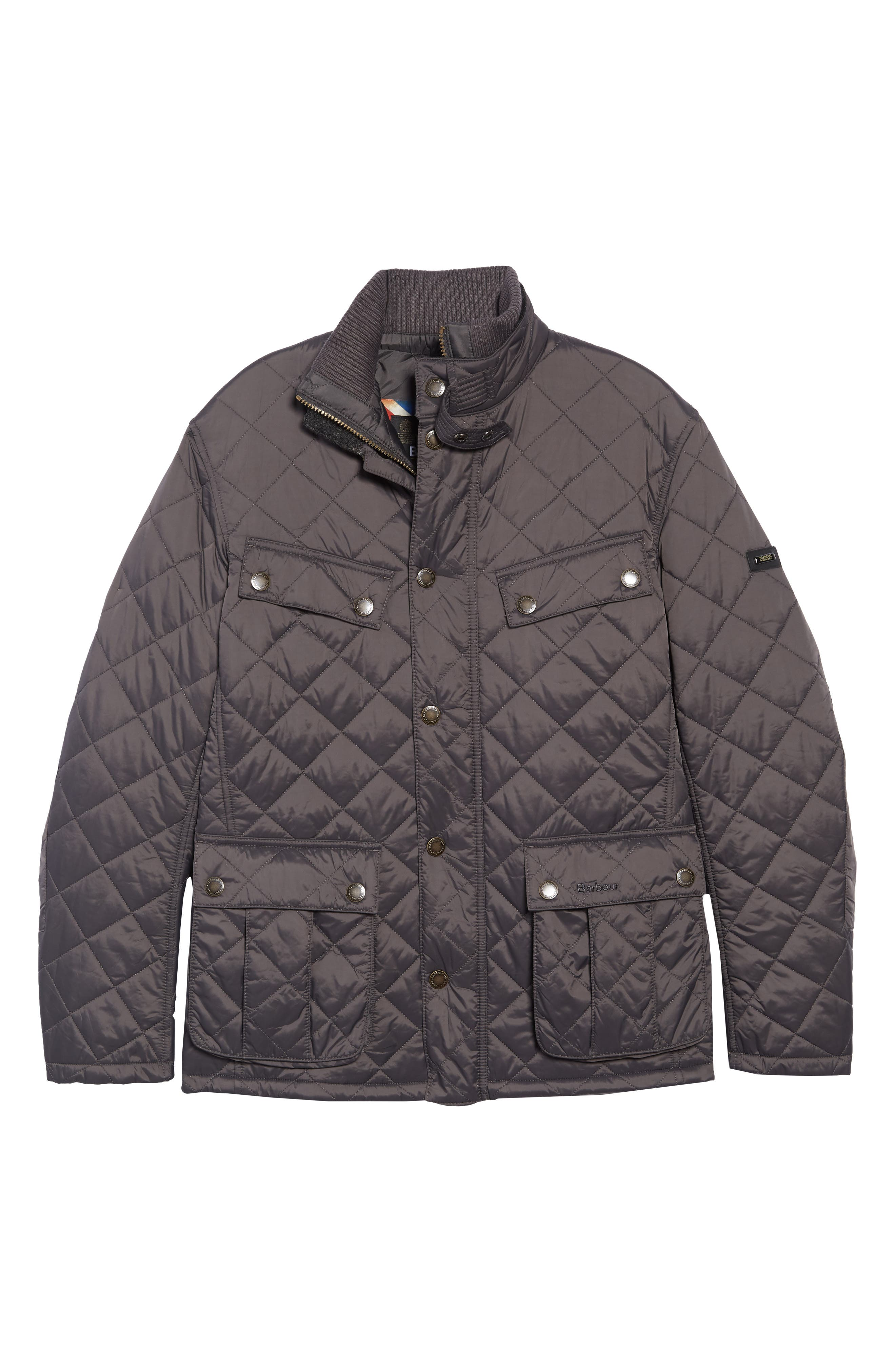 BARBOUR, International Windshield Quilted Jacket, Alternate thumbnail 6, color, CHARCOAL