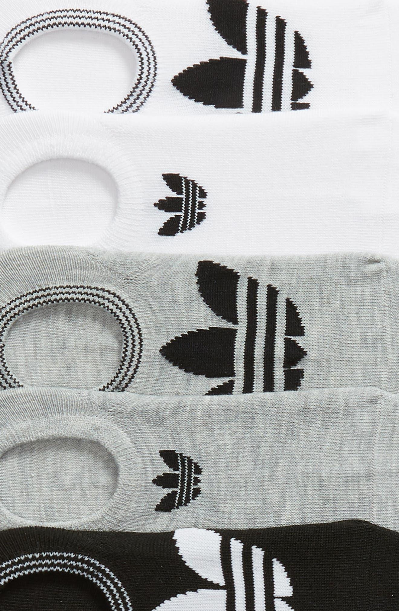 ADIDAS, 6-Pack Trefoil Superlite No-Show Socks, Alternate thumbnail 2, color, WHITE/ LT HTHR GREY/ BLACK