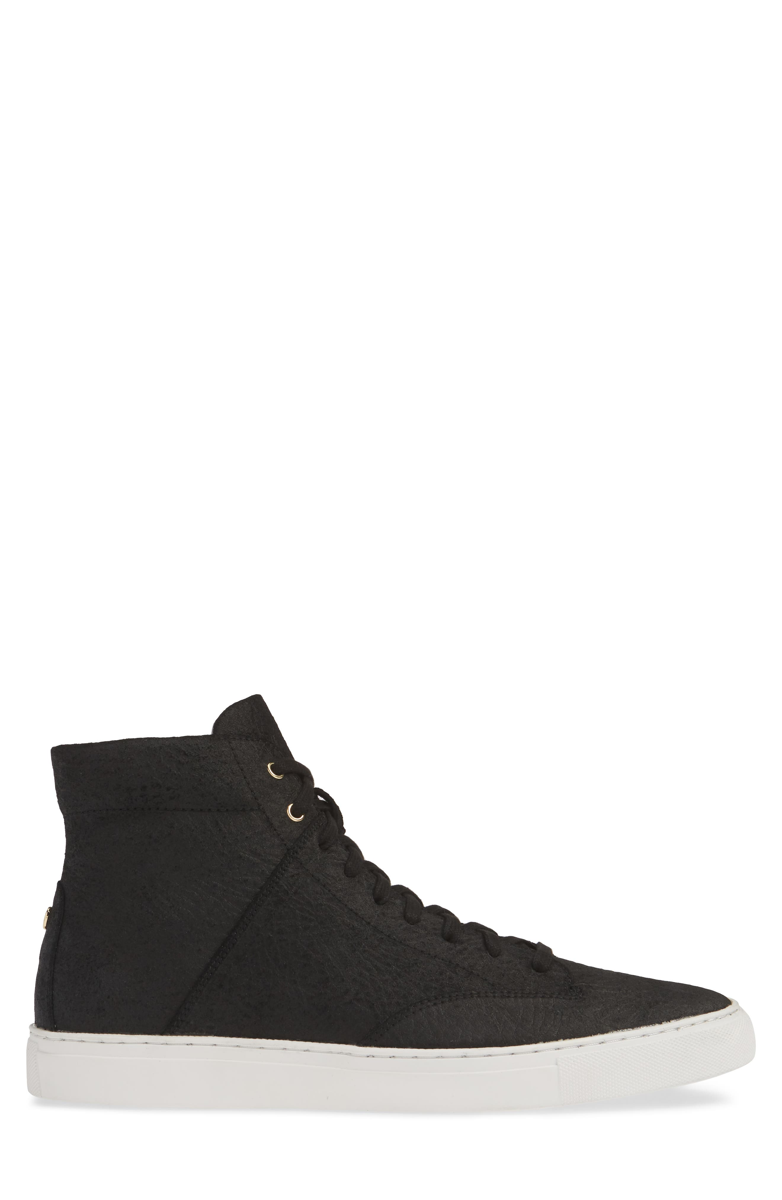 TCG, 'Porter' High Top Sneaker, Alternate thumbnail 3, color, BLACK LEATHER
