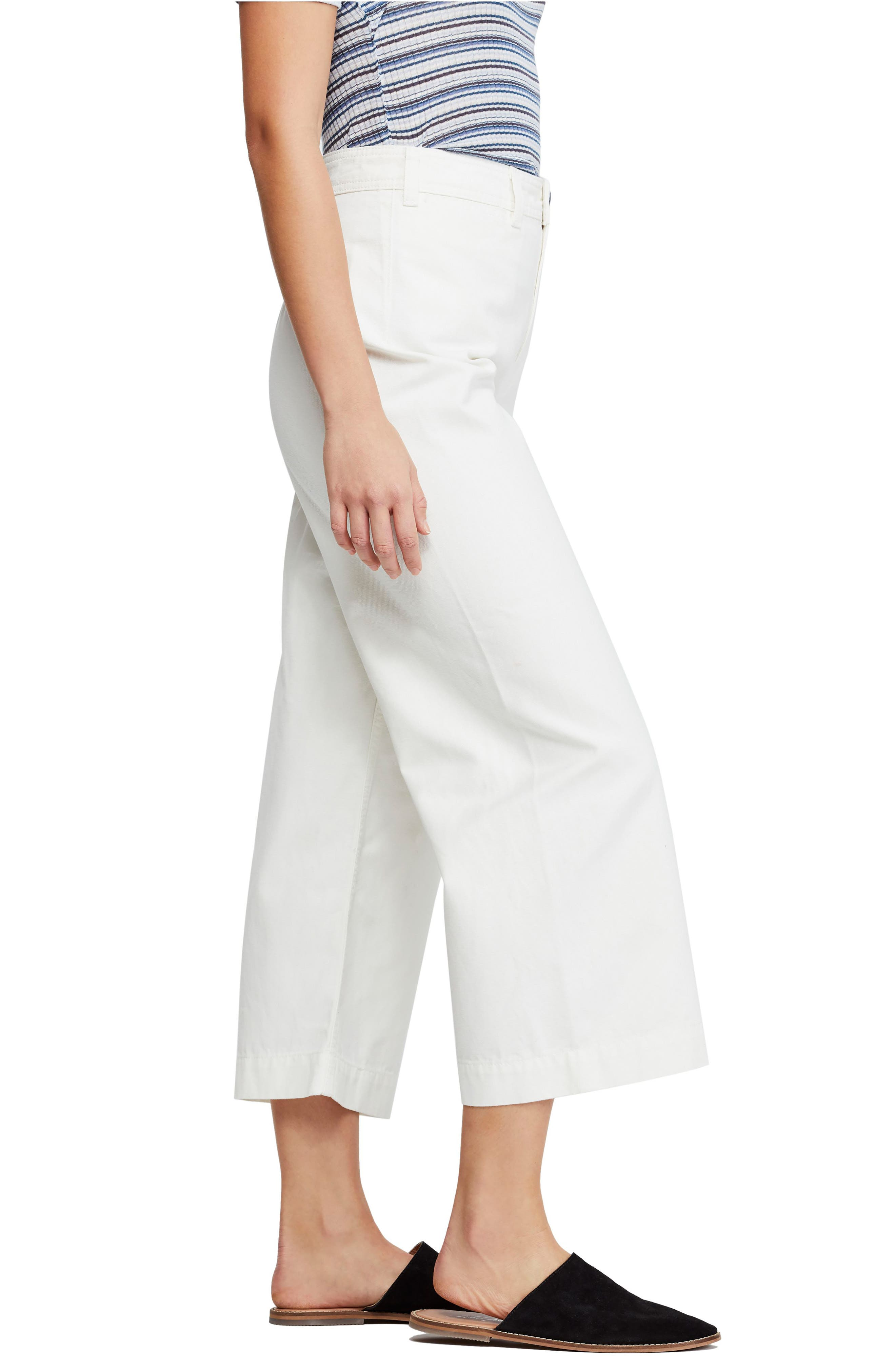 FREE PEOPLE, We the Free by Free People Patti Crop Cotton Pants, Alternate thumbnail 4, color, IVORY