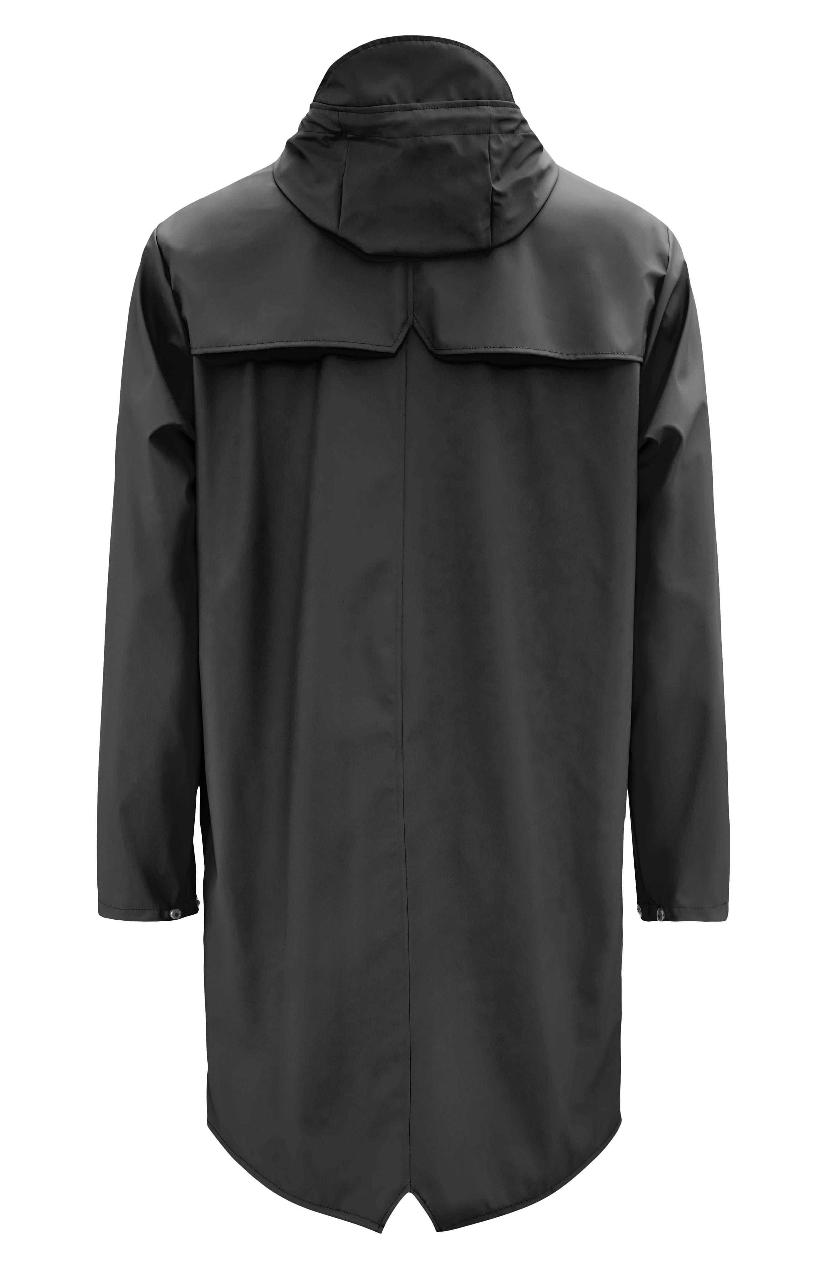 RAINS, Waterproof Hooded Long Rain Jacket, Alternate thumbnail 7, color, BLACK