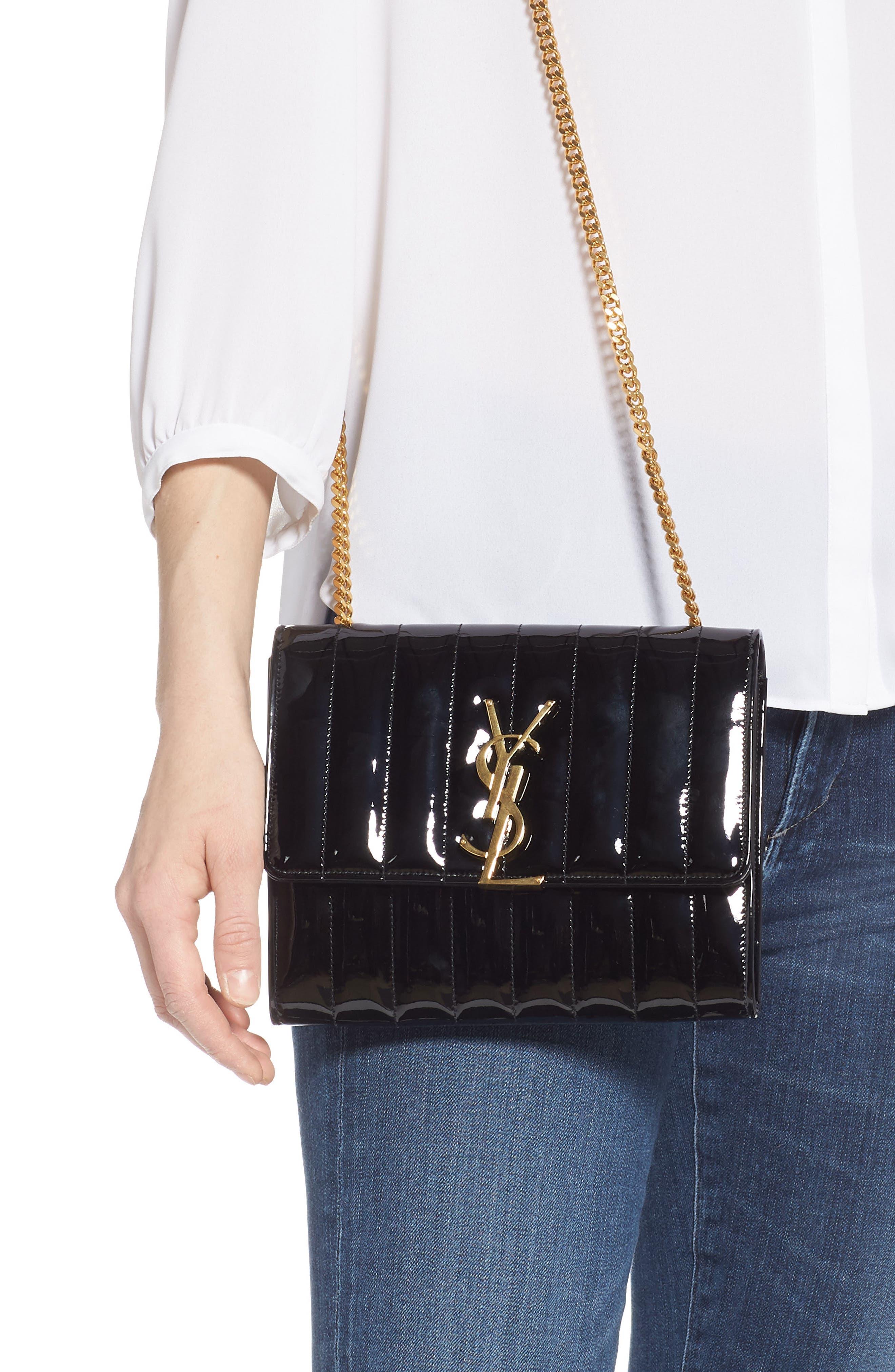 SAINT LAURENT, Vicky Patent Leather Wallet on a Chain, Alternate thumbnail 2, color, NOIR/ NOIR