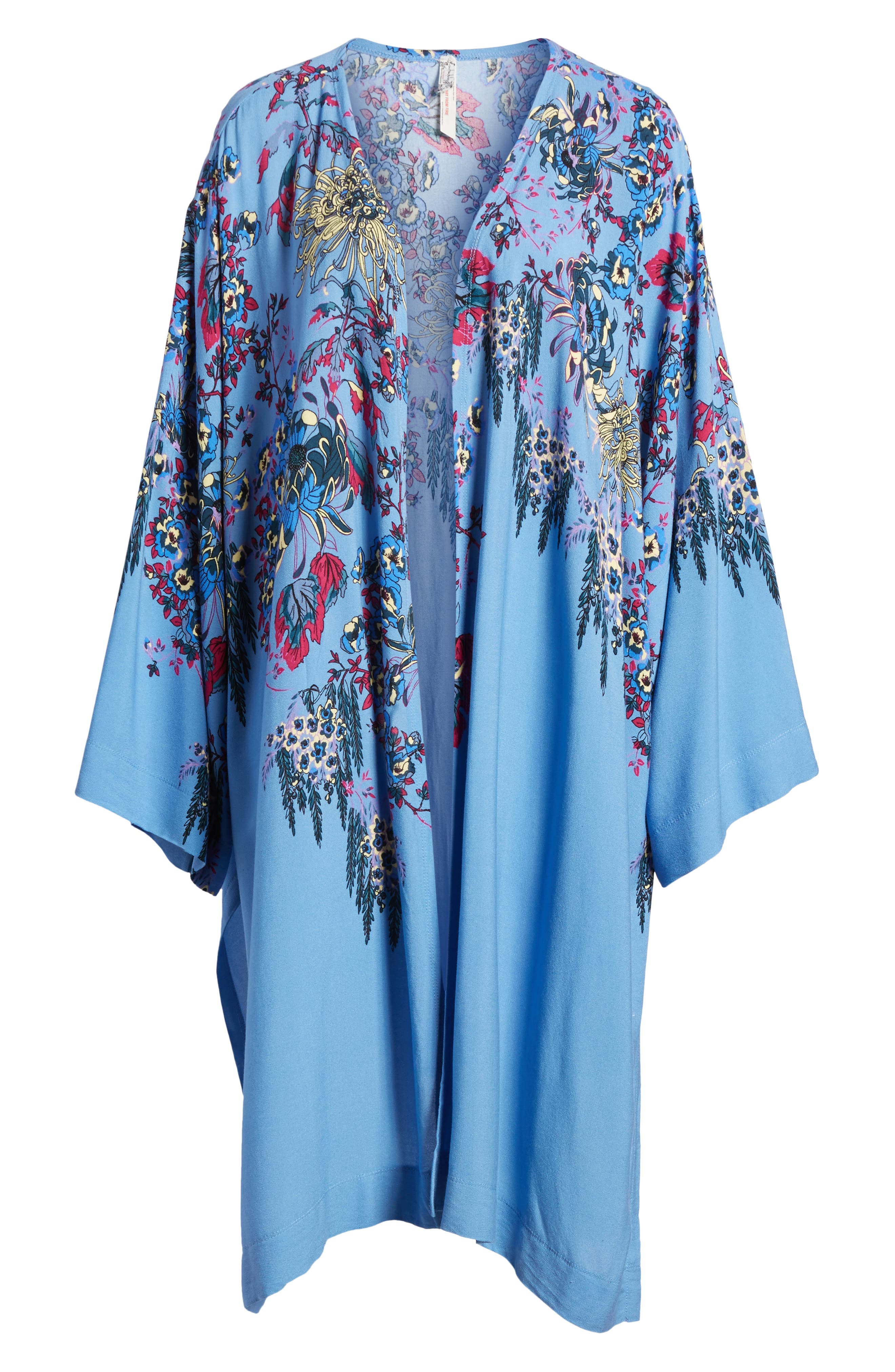 FREE PEOPLE, Dont Know Kimono, Alternate thumbnail 6, color, BLUE COMBO