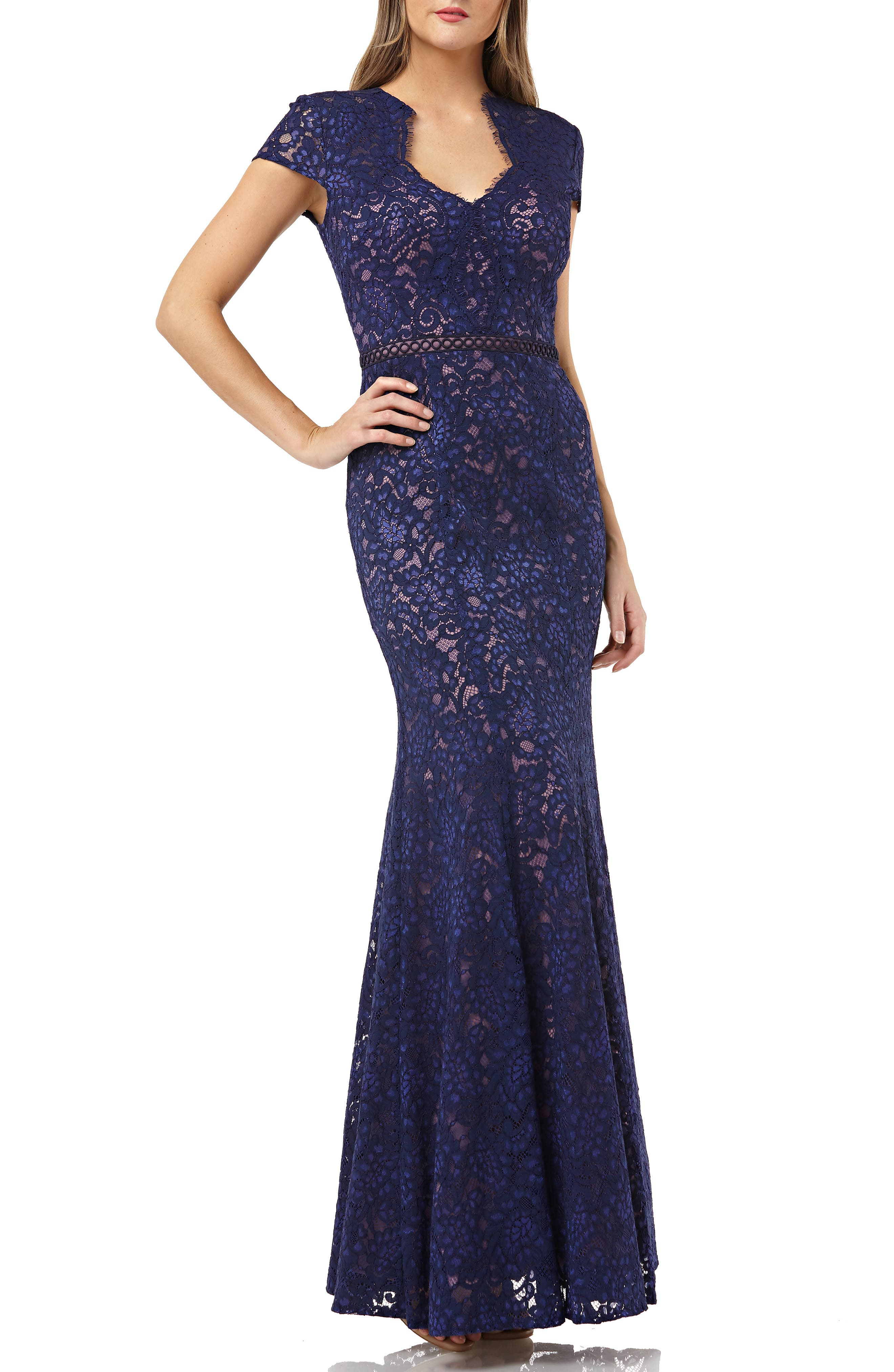 JS COLLECTIONS, Lace Mermaid Gown, Main thumbnail 1, color, NAVY/ ROSE