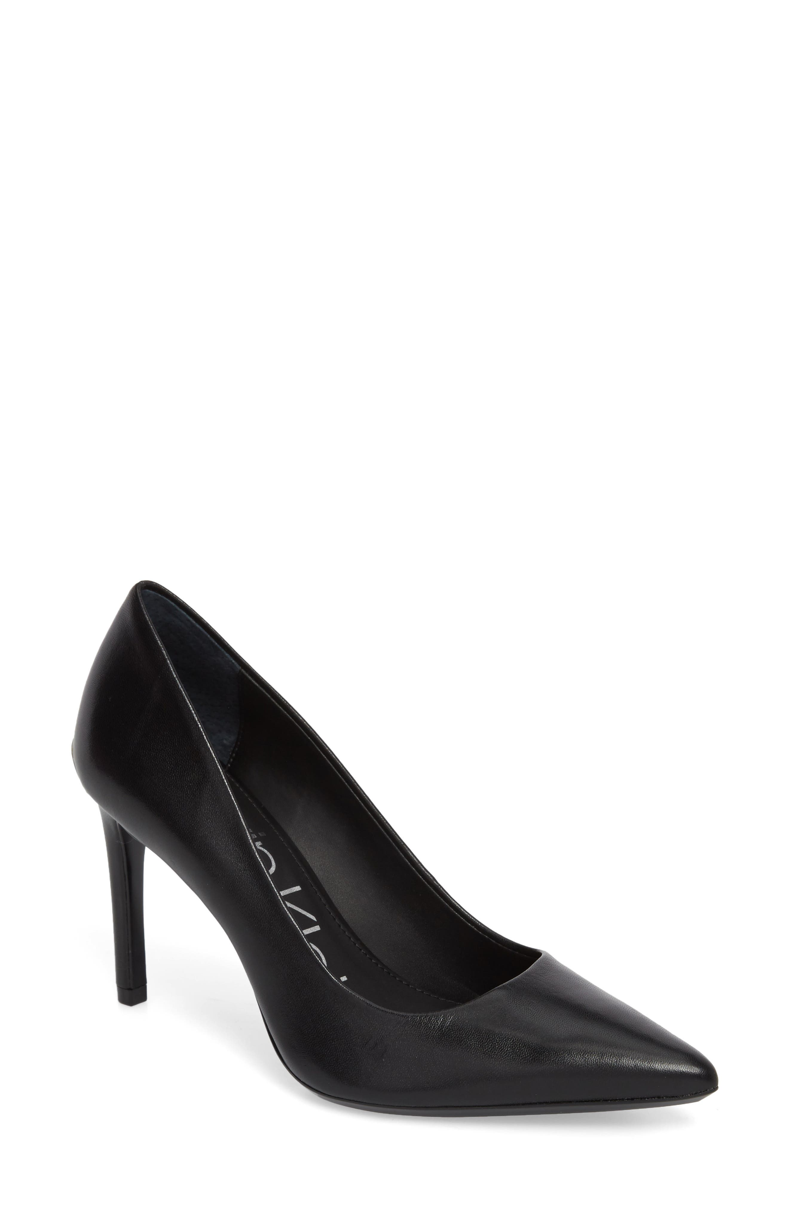CALVIN KLEIN Ronna Pointy Toe Pump, Main, color, BLACK LEATHER