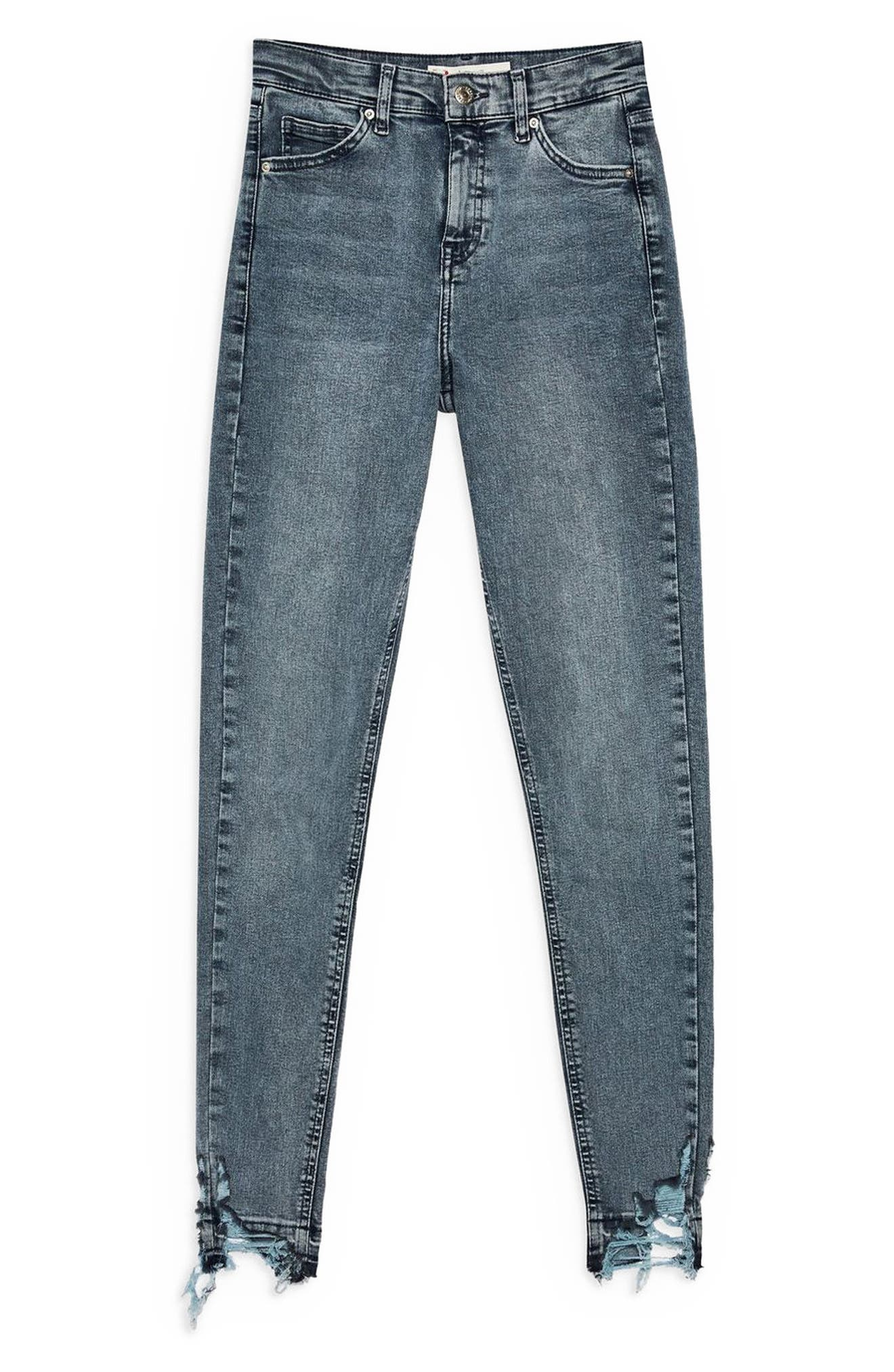 TOPSHOP, Jamie Ripped Moto Jeans, Alternate thumbnail 3, color, GREY